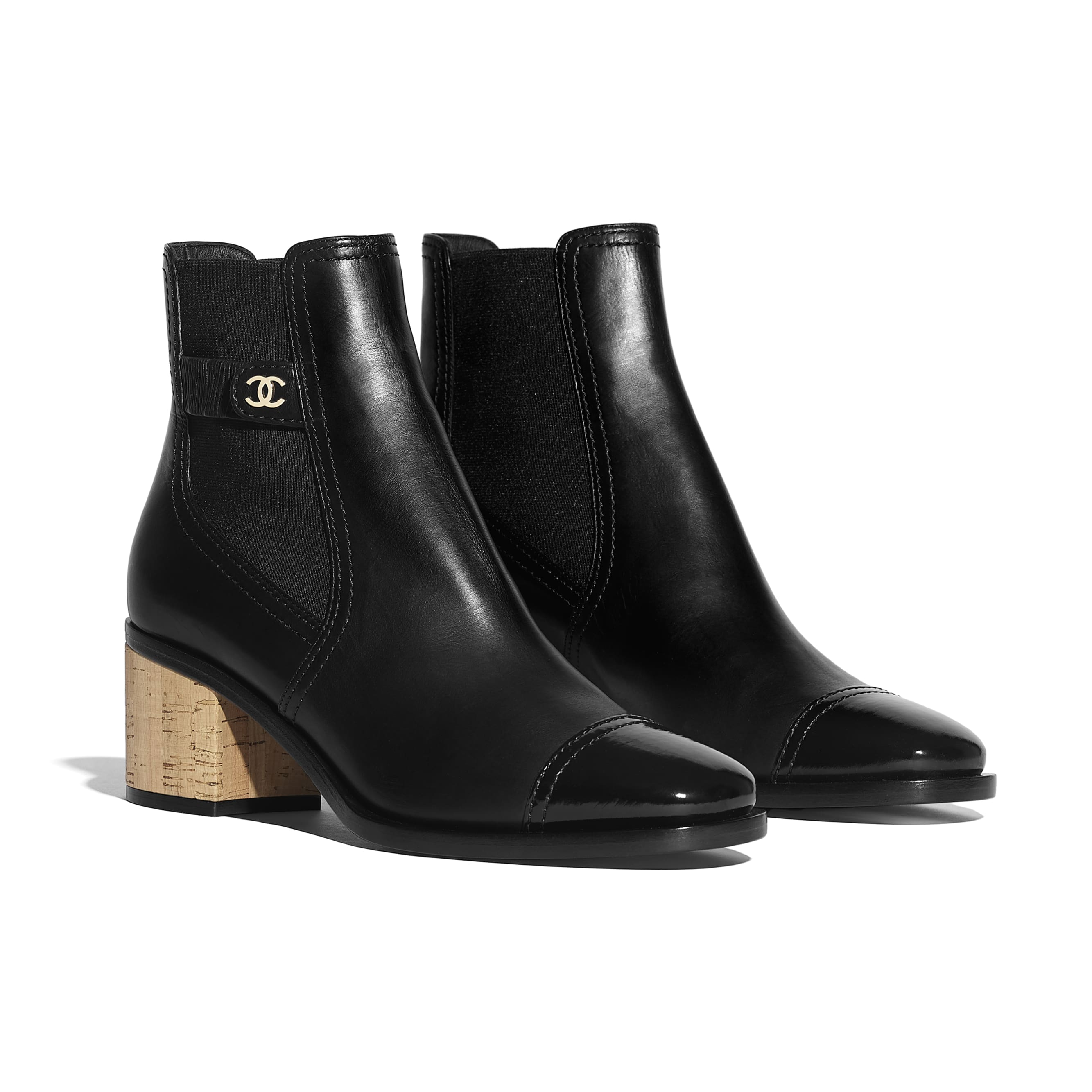 Ankle Boots - Black - Calfskin, Patent Calfskin & Cork - Alternative view - see standard sized version