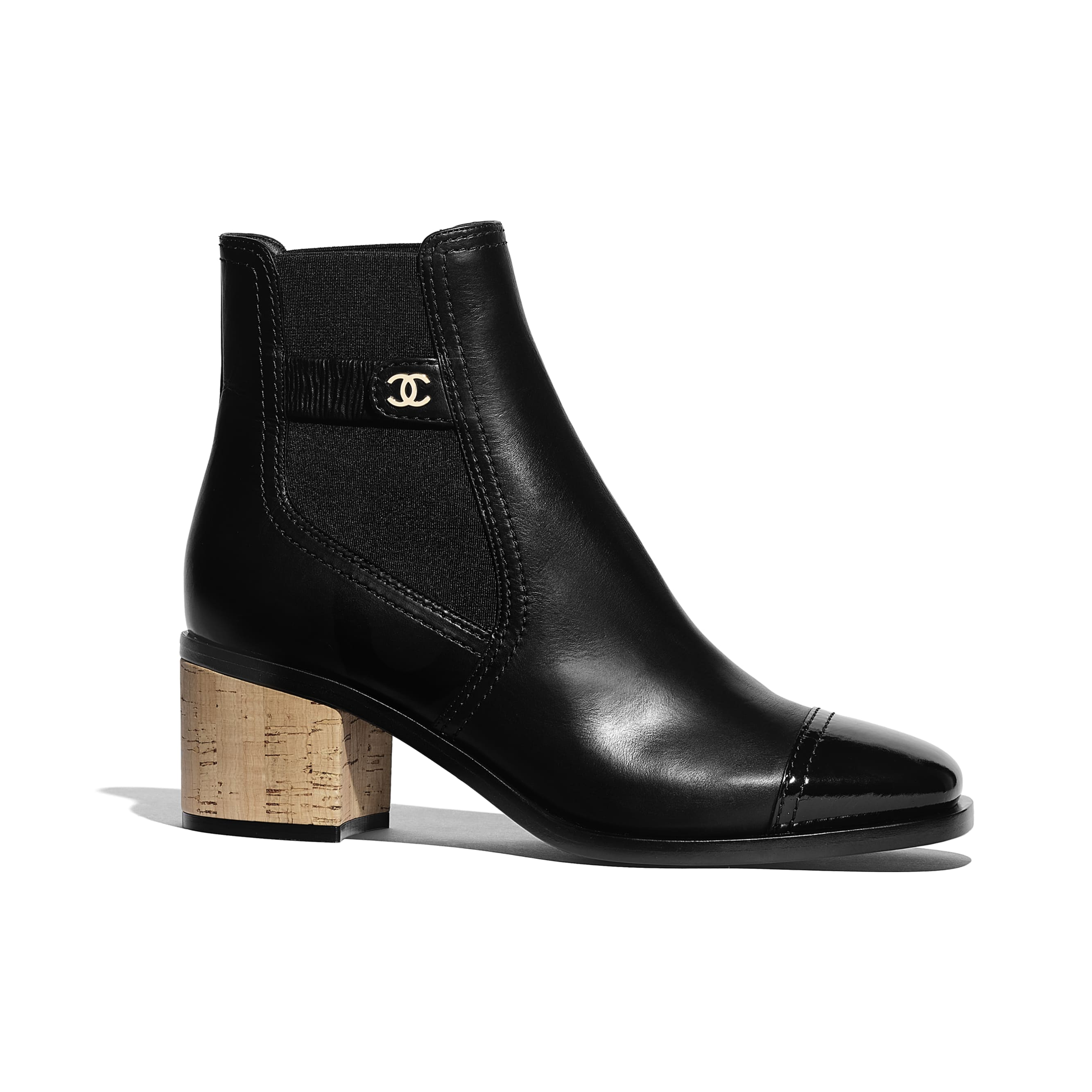 Ankle Boots - Black - Calfskin, Patent Calfskin & Cork - Default view - see standard sized version