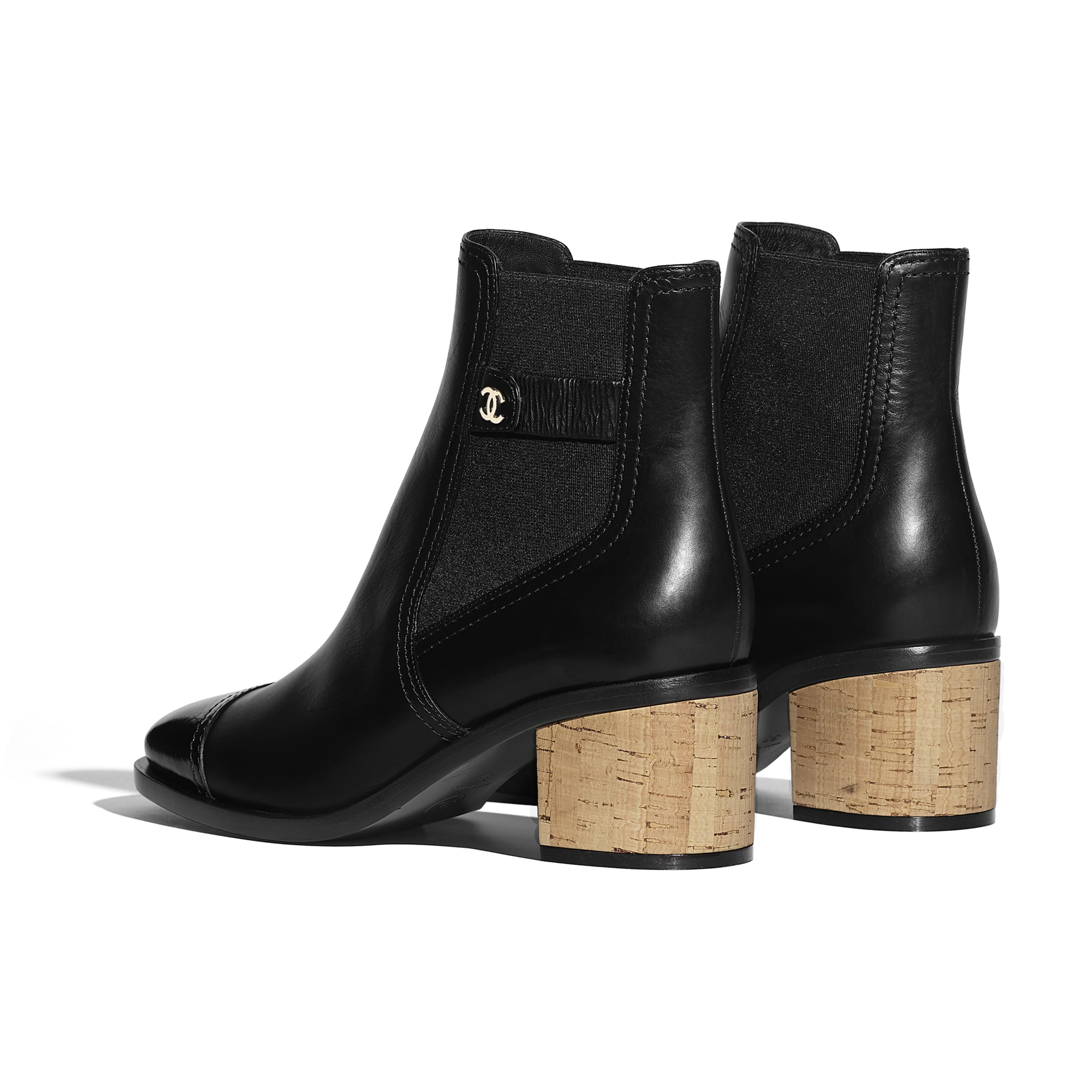 Ankle Boots - Black - Calfskin, Patent Calfskin & Cork - Other view - see standard sized version