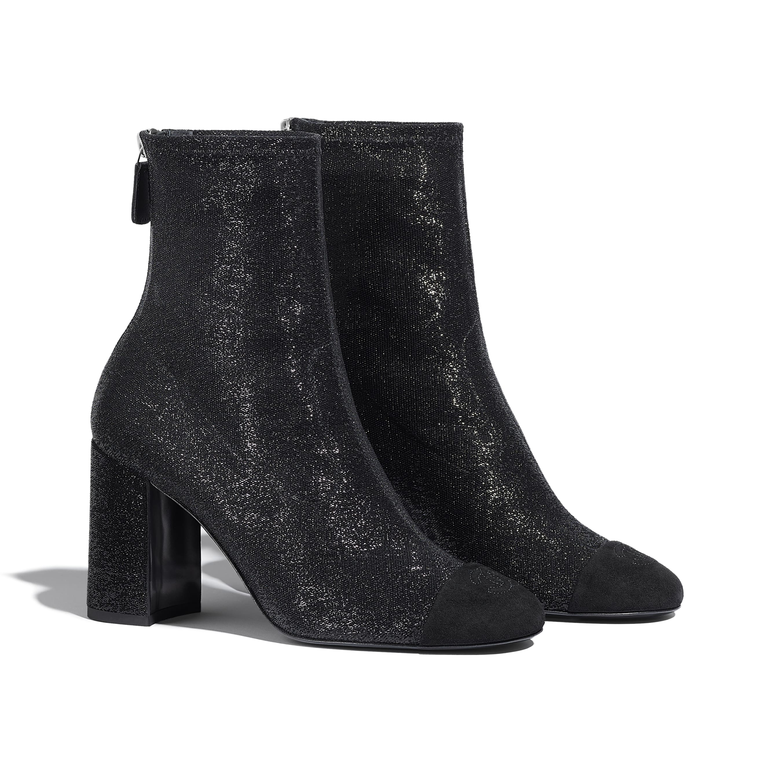 Ankle Boots - Black - Fabric & Suede Kidskin - CHANEL - Alternative view - see standard sized version