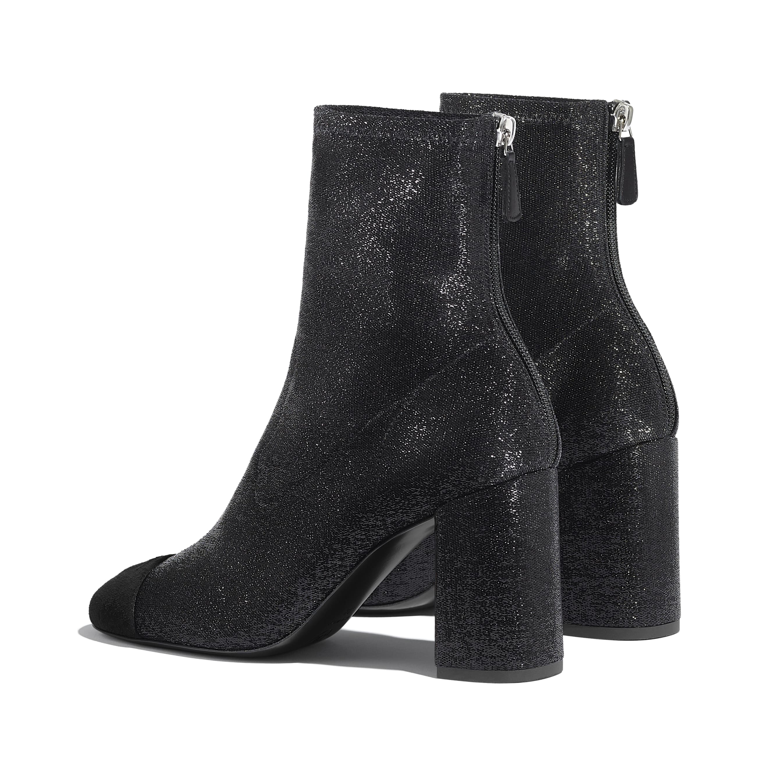 Ankle Boots - Black - Fabric & Suede Kidskin - CHANEL - Other view - see standard sized version