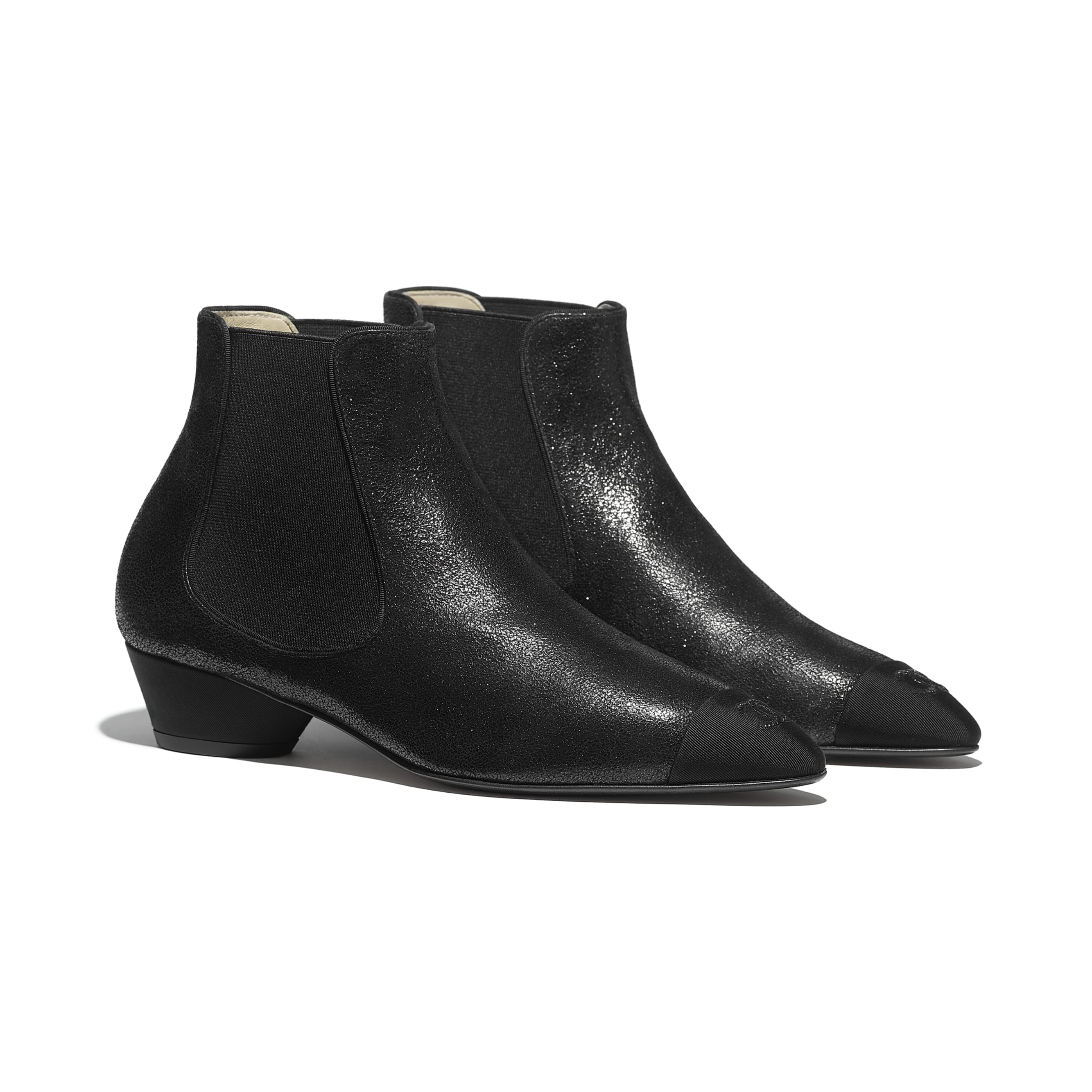 Ankle Boots - Black - Goatskin & Grosgrain - Alternative view - see standard sized version