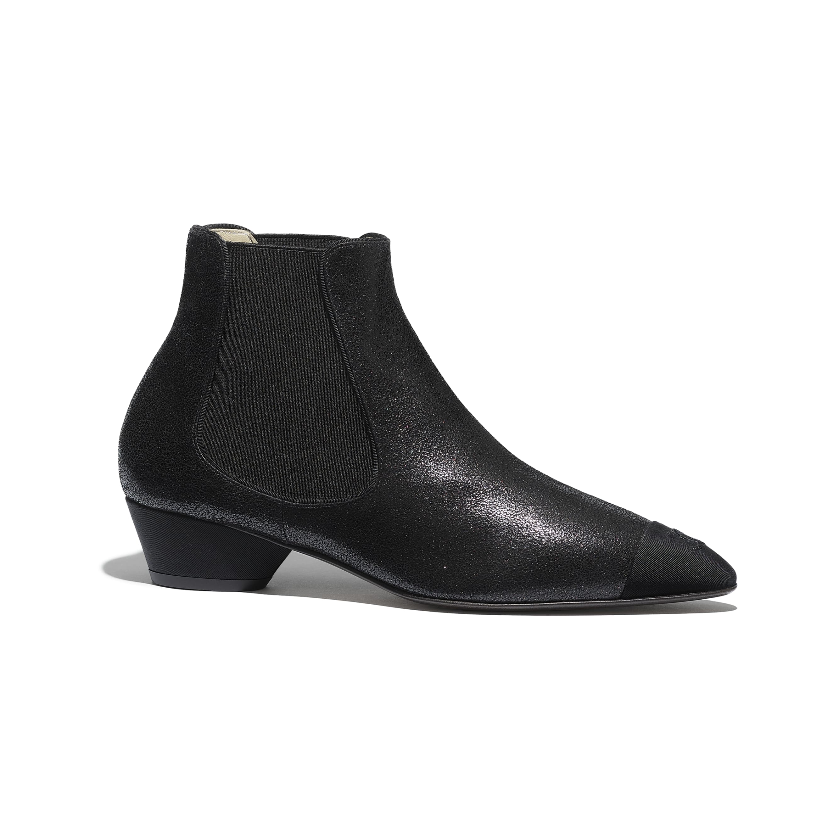 Ankle Boots - Black - Goatskin & Grosgrain - Default view - see standard sized version