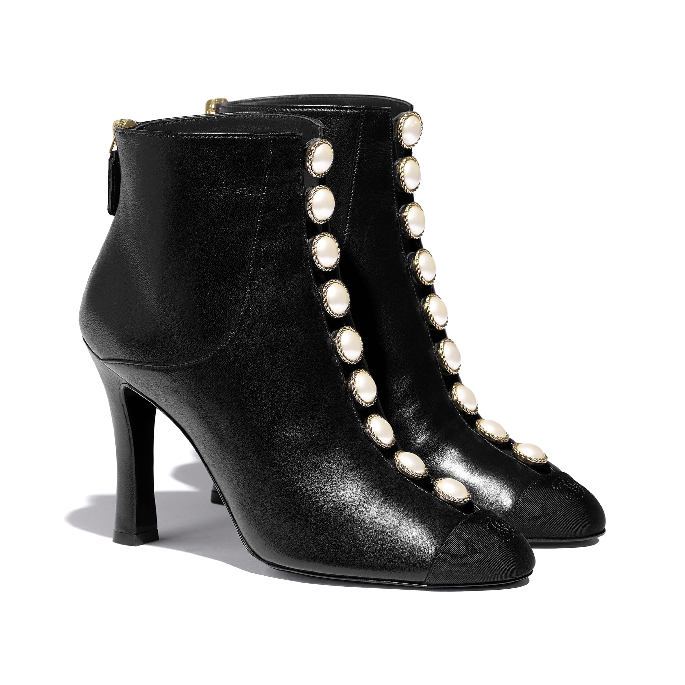 Ankle Boots - Black - Lambskin & Grosgrain - CHANEL - Alternative view - see standard sized version