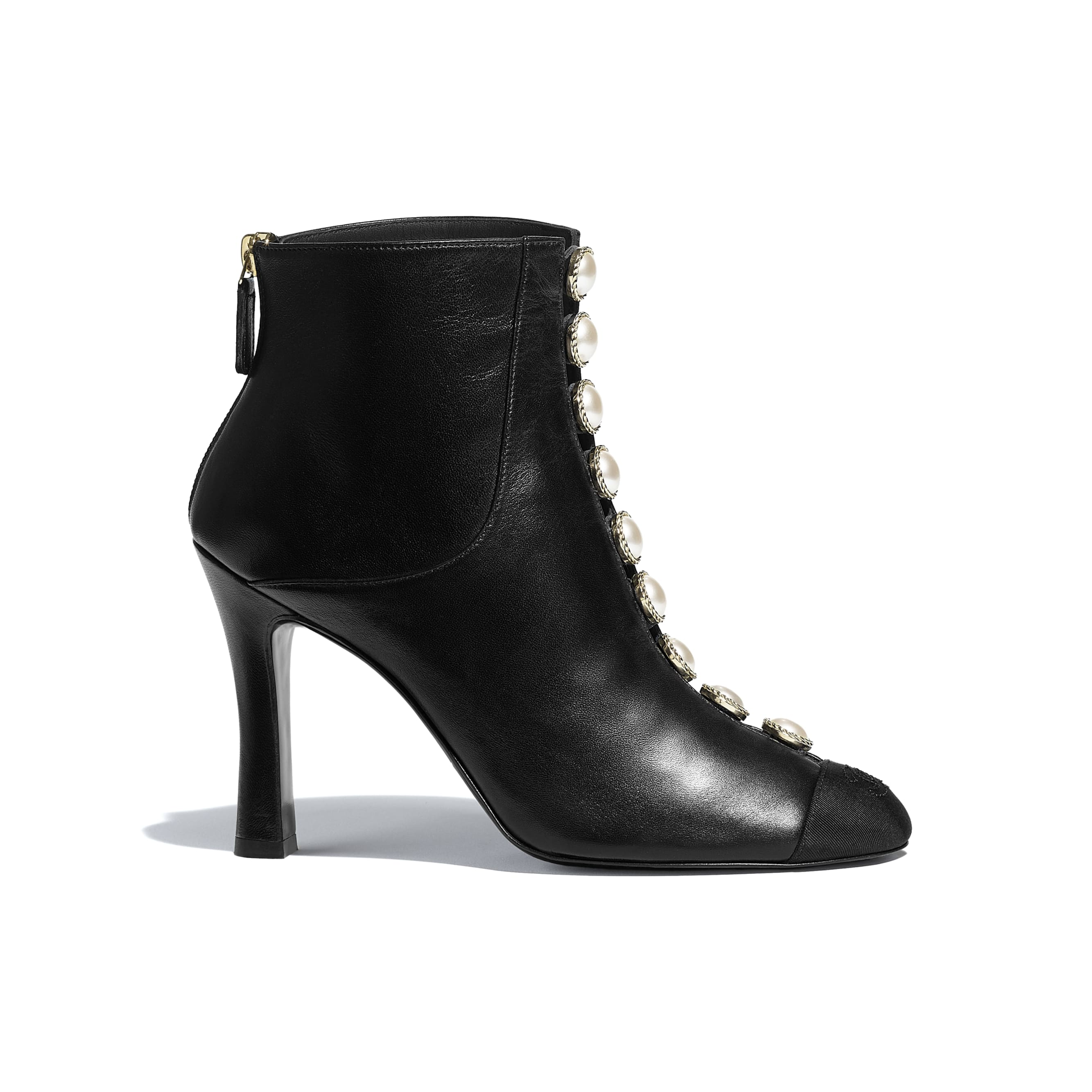 Ankle Boots - Black - Lambskin & Grosgrain - CHANEL - Default view - see standard sized version