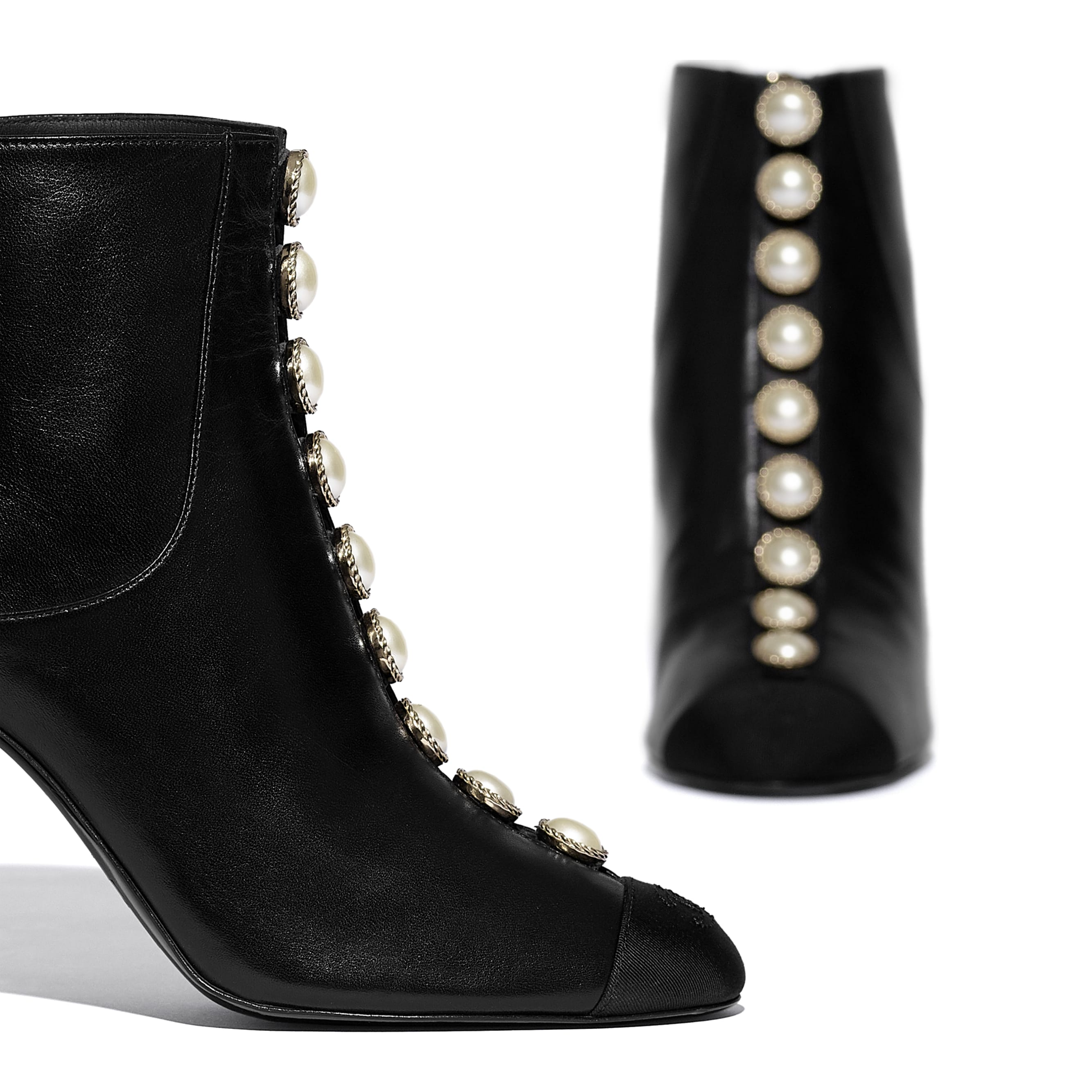 Ankle Boots - Black - Lambskin & Grosgrain - CHANEL - Extra view - see standard sized version