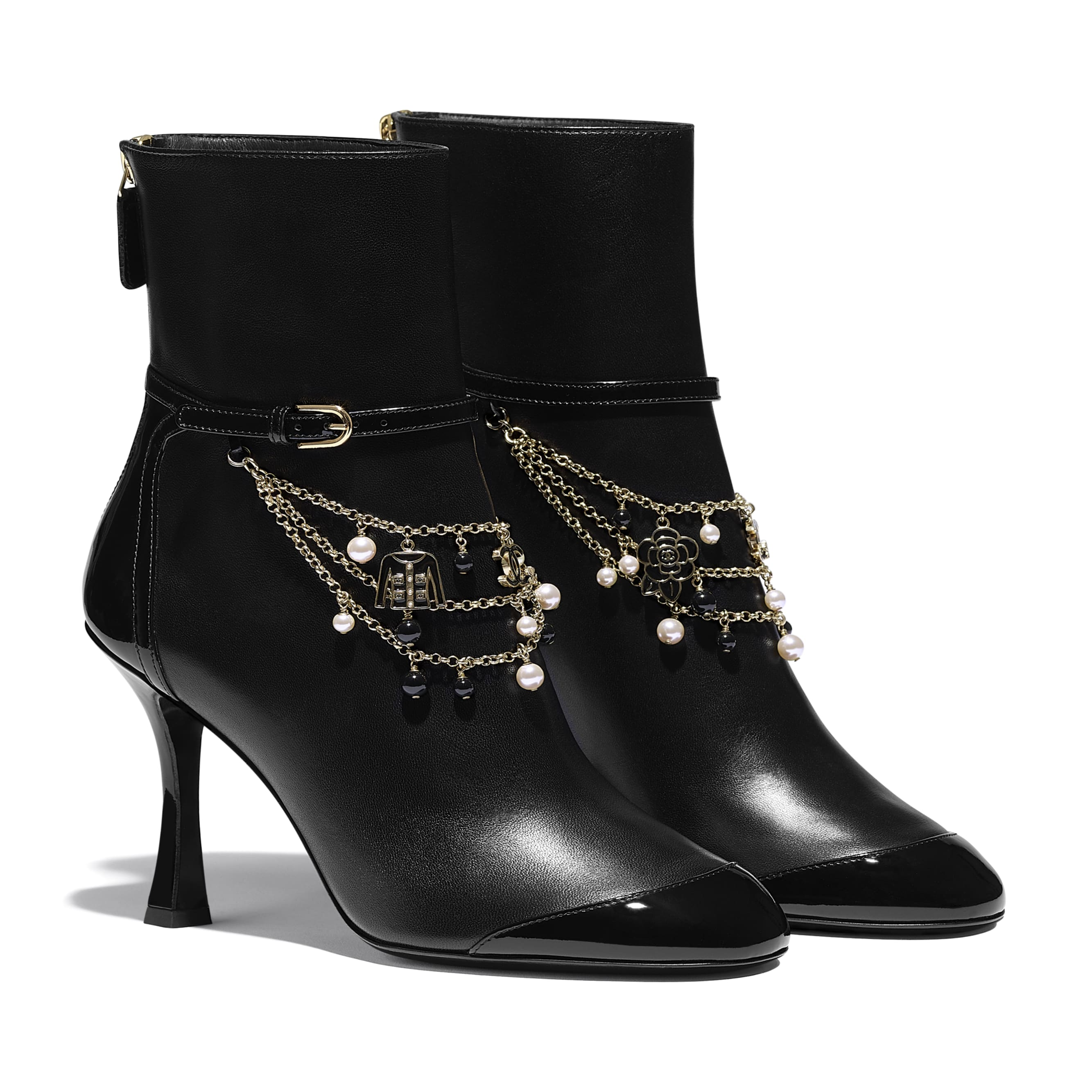 Ankle Boots - Black - Lambskin & Patent Calfskin - CHANEL - Alternative view - see standard sized version