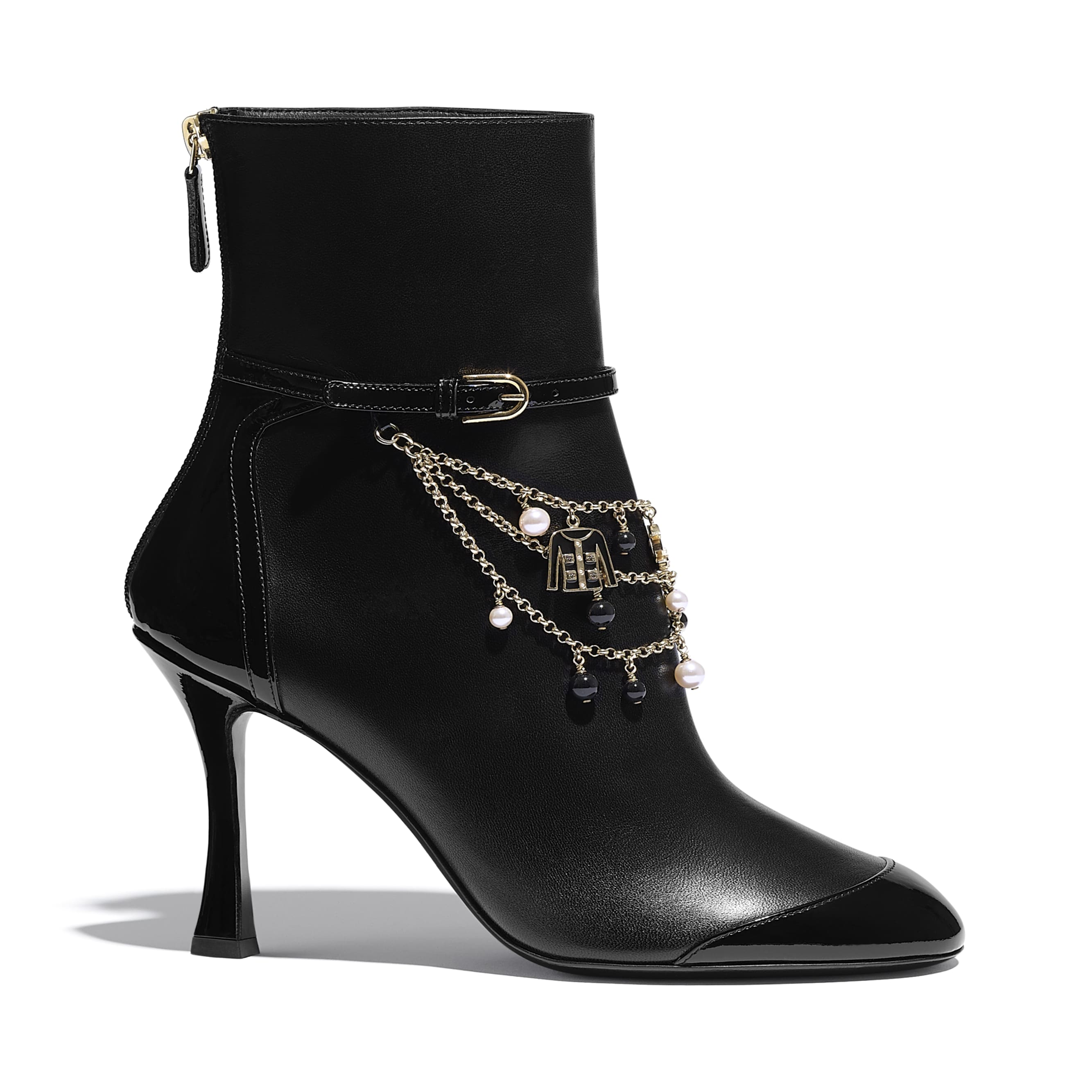 Ankle Boots - Black - Lambskin & Patent Calfskin - CHANEL - Default view - see standard sized version
