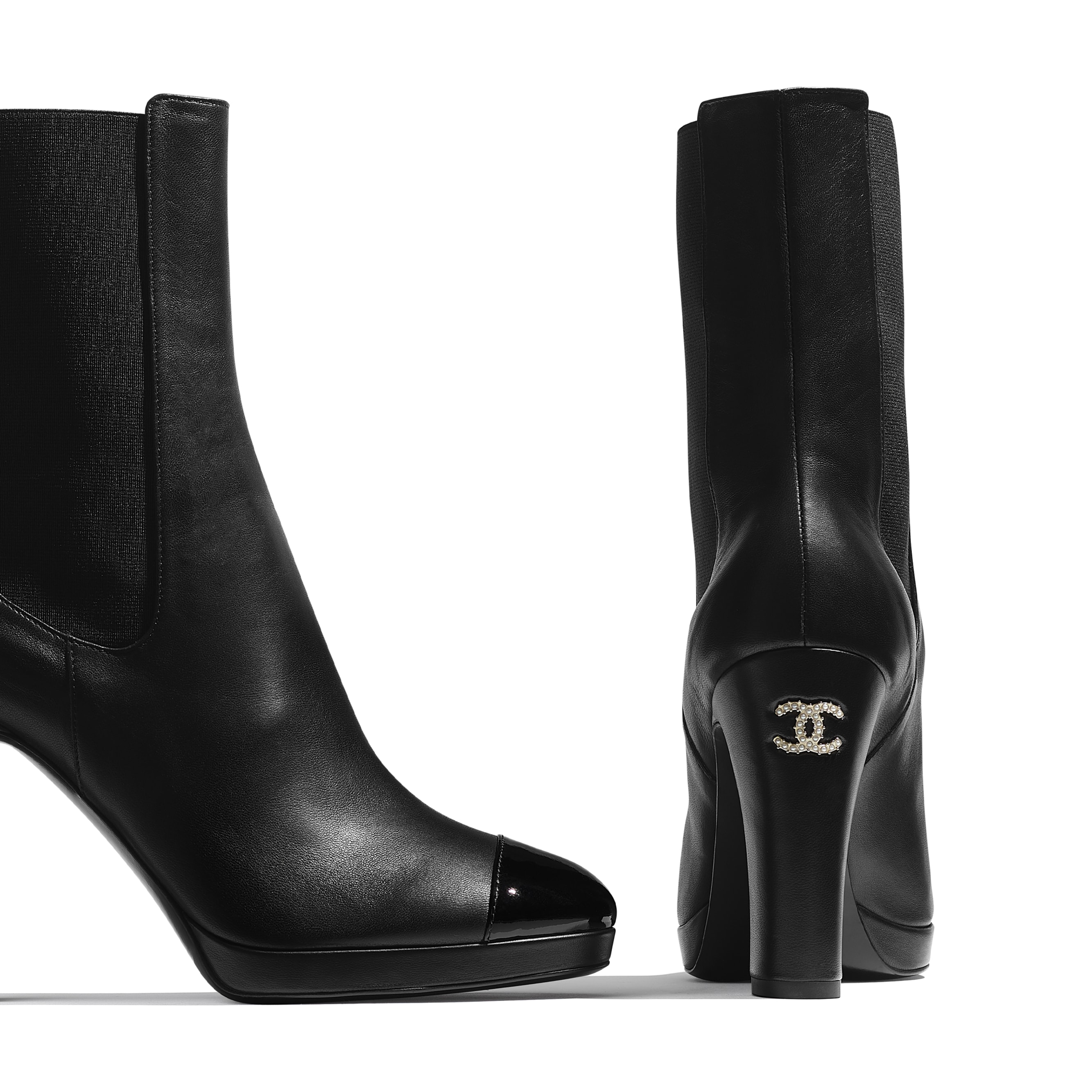 Ankle Boots - Black - Lambskin & Patent Calfskin - CHANEL - Extra view - see standard sized version