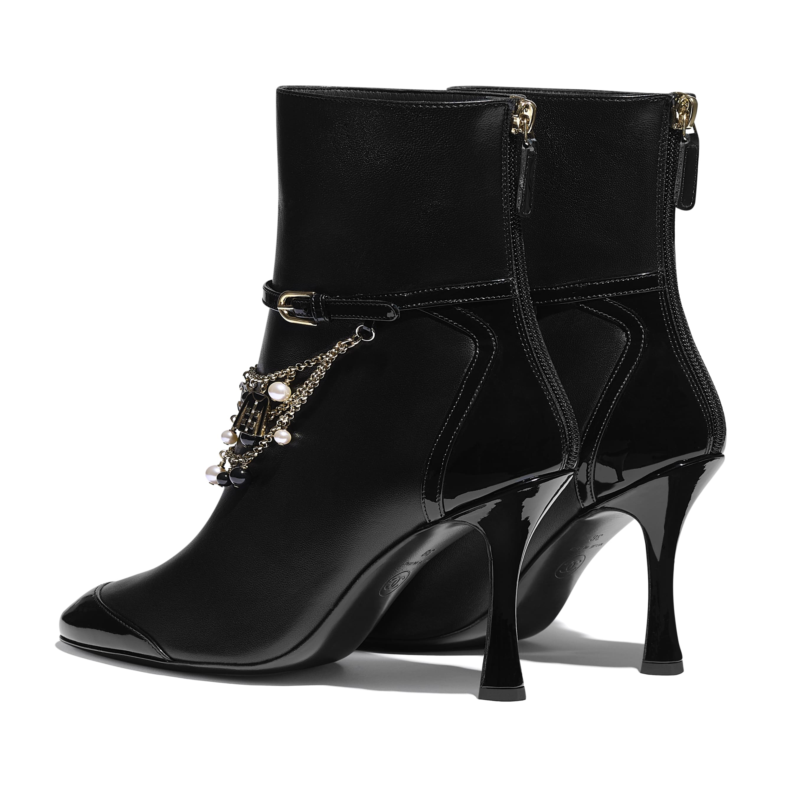 Ankle Boots - Black - Lambskin & Patent Calfskin - CHANEL - Other view - see standard sized version