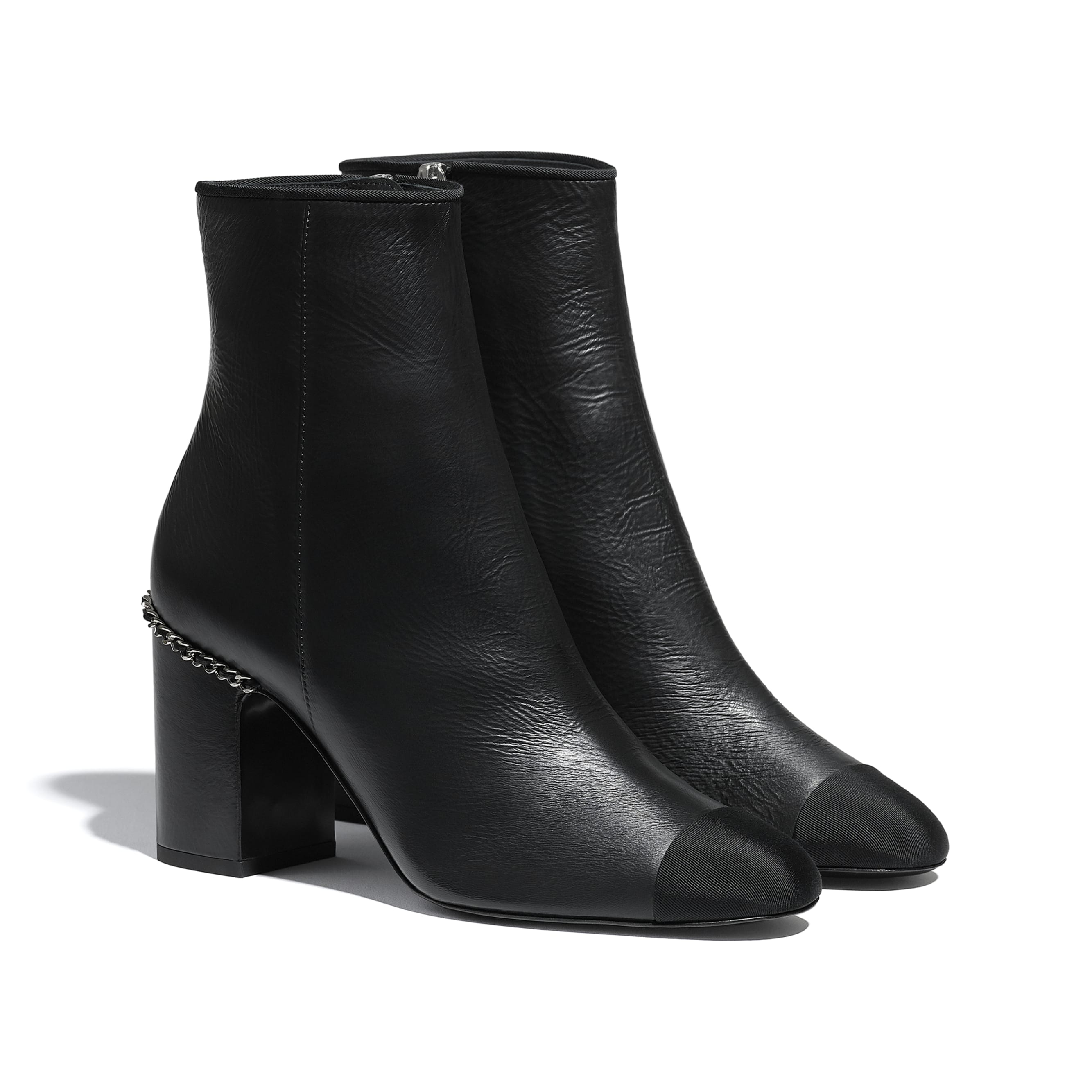 Ankle Boots - Black - Laminated Lambskin & Grosgrain - CHANEL - Alternative view - see standard sized version