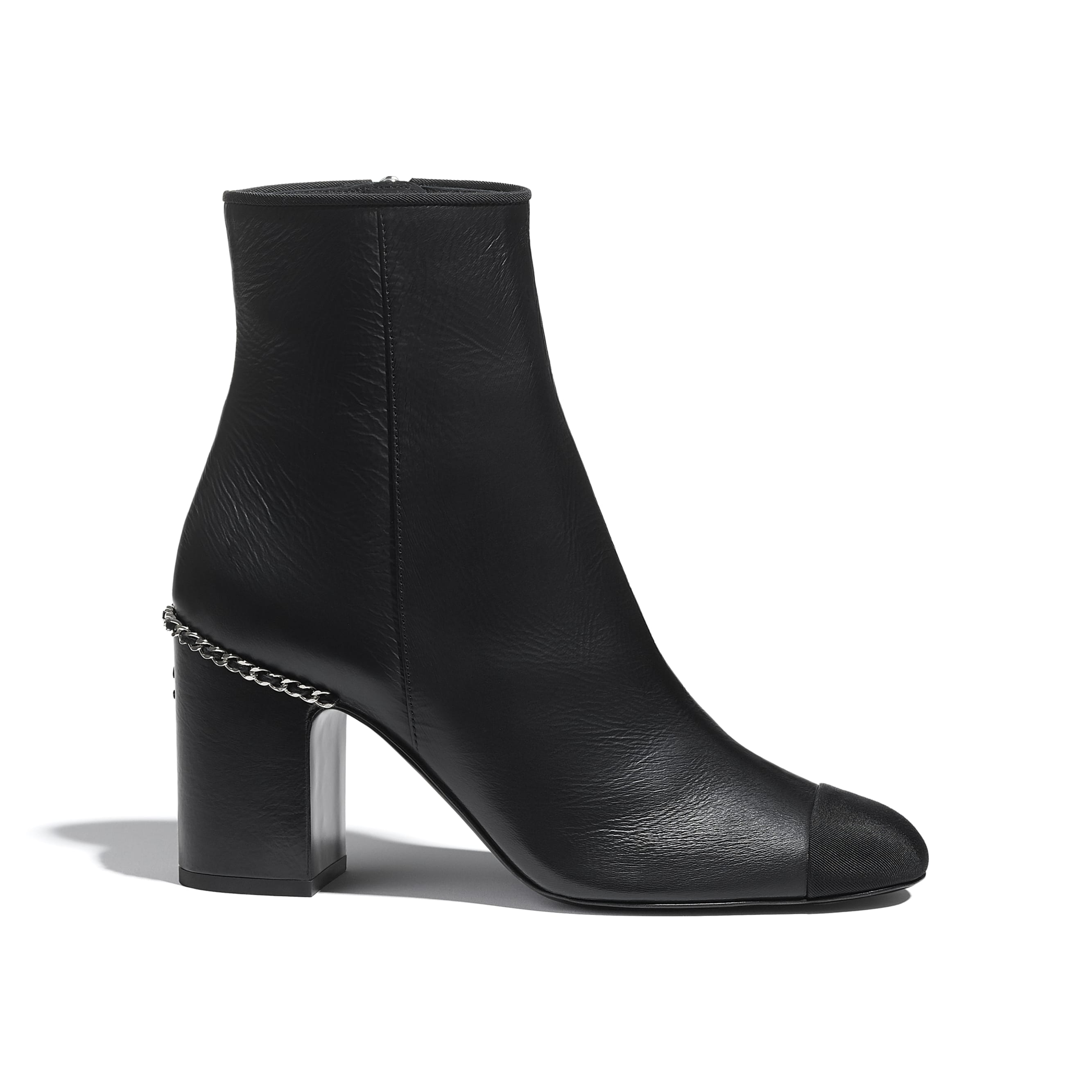 Ankle Boots - Black - Laminated Lambskin & Grosgrain - CHANEL - Default view - see standard sized version