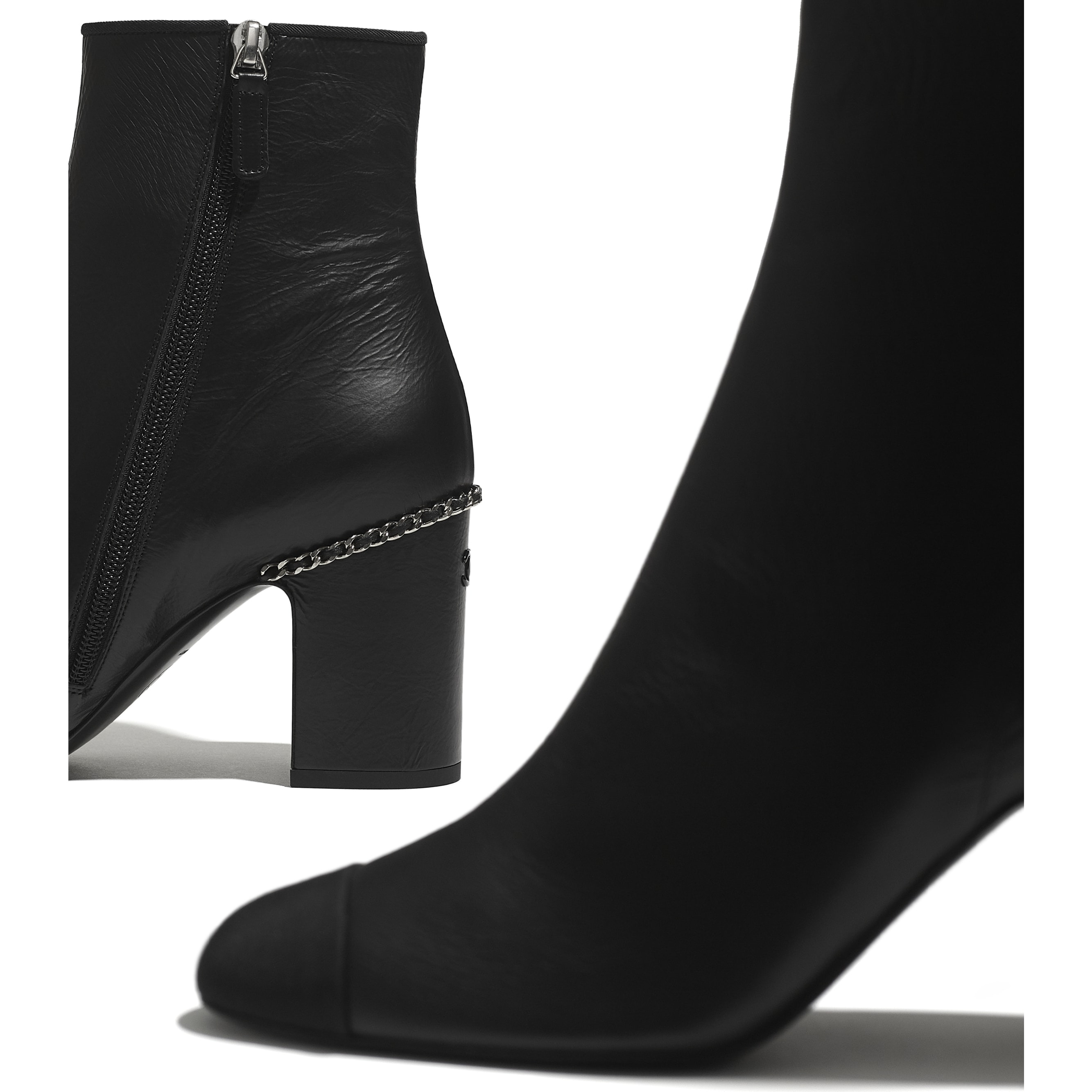 Ankle Boots - Black - Laminated Lambskin & Grosgrain - CHANEL - Extra view - see standard sized version