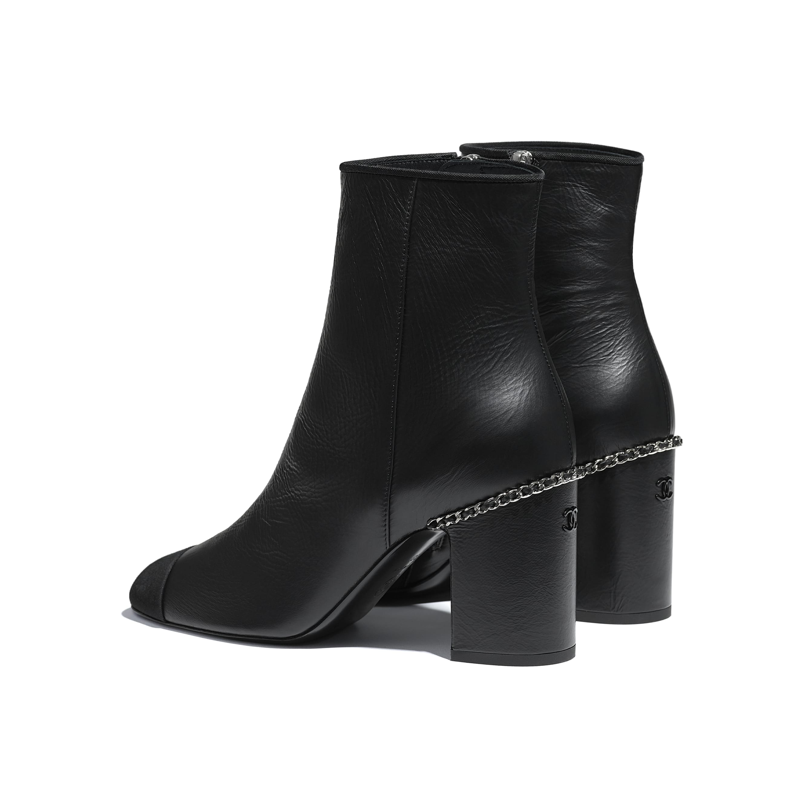 Ankle Boots - Black - Laminated Lambskin & Grosgrain - CHANEL - Other view - see standard sized version