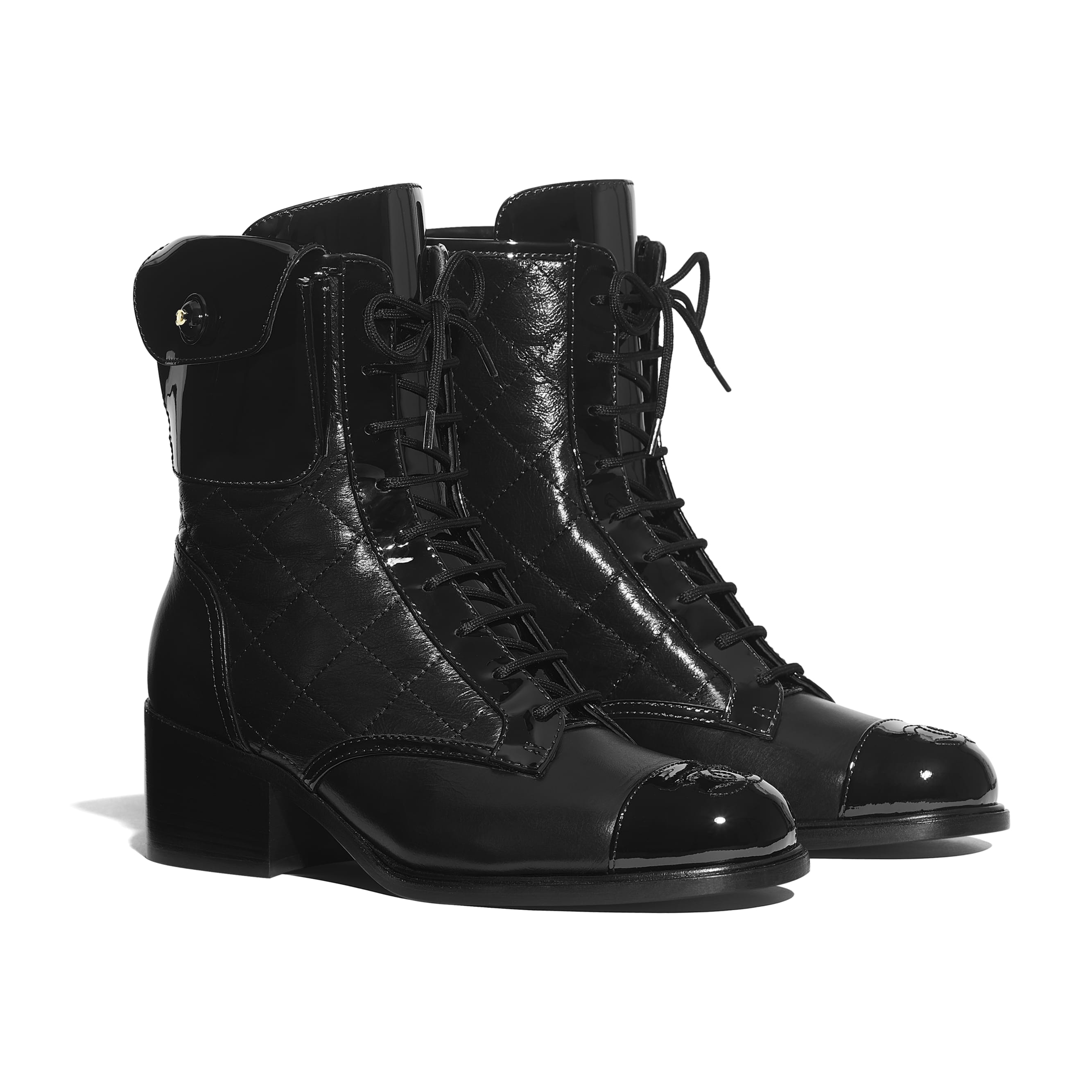 Ankle Boots - Black - Patent Calfskin & Crackled Calfskin - Alternative view - see standard sized version