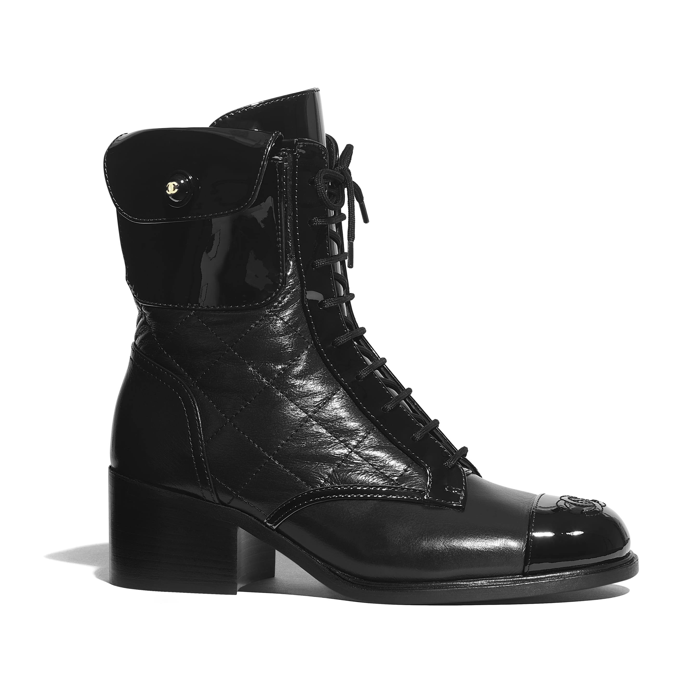 Ankle Boots - Black - Patent Calfskin & Crackled Calfskin - Default view - see standard sized version