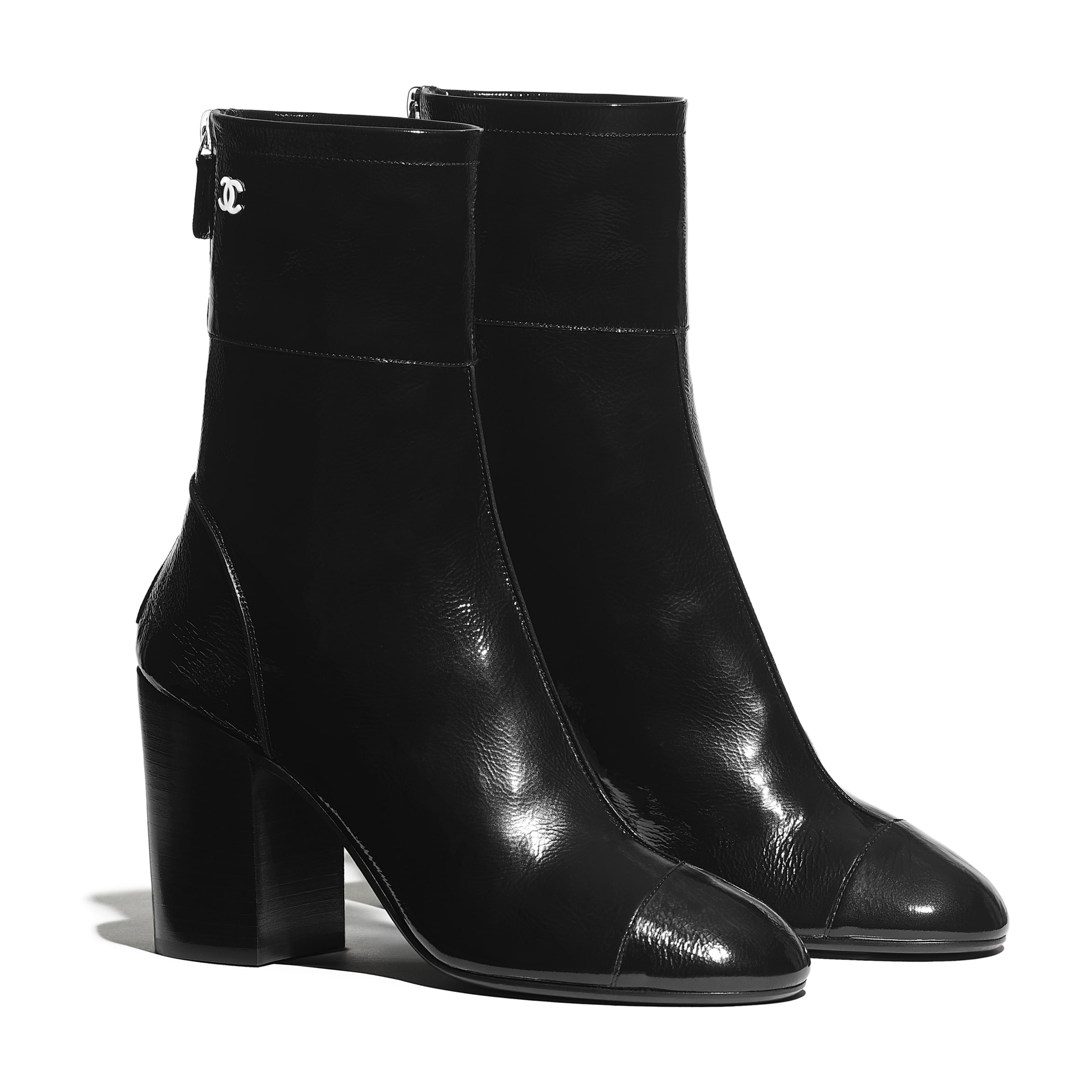Ankle Boots - Black - Shiny Crumpled Calfskin - CHANEL - Alternative view - see standard sized version