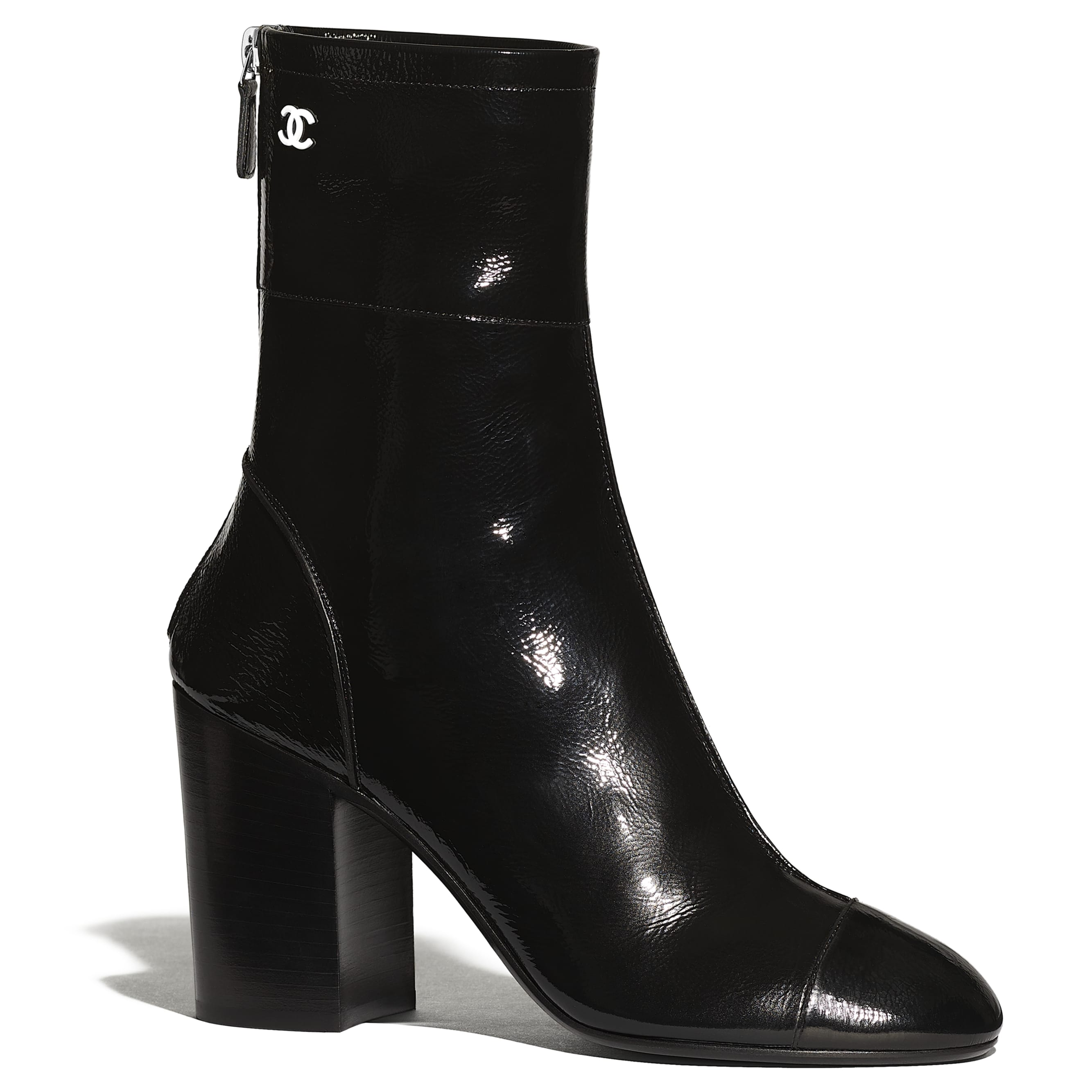 Ankle Boots - Black - Shiny Crumpled Calfskin - CHANEL - Default view - see standard sized version
