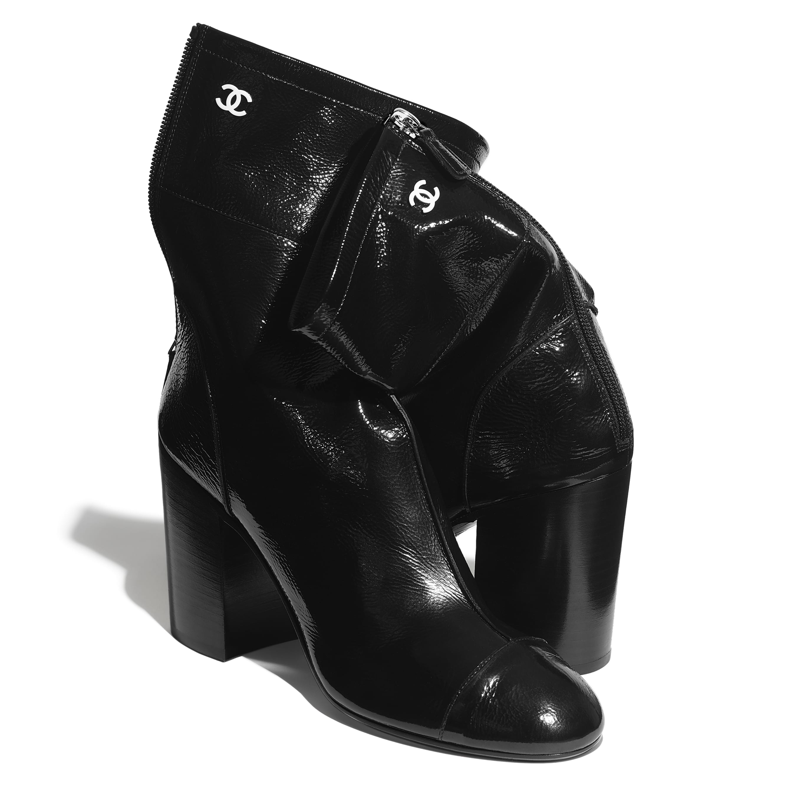 Ankle Boots - Black - Shiny Crumpled Calfskin - CHANEL - Extra view - see standard sized version