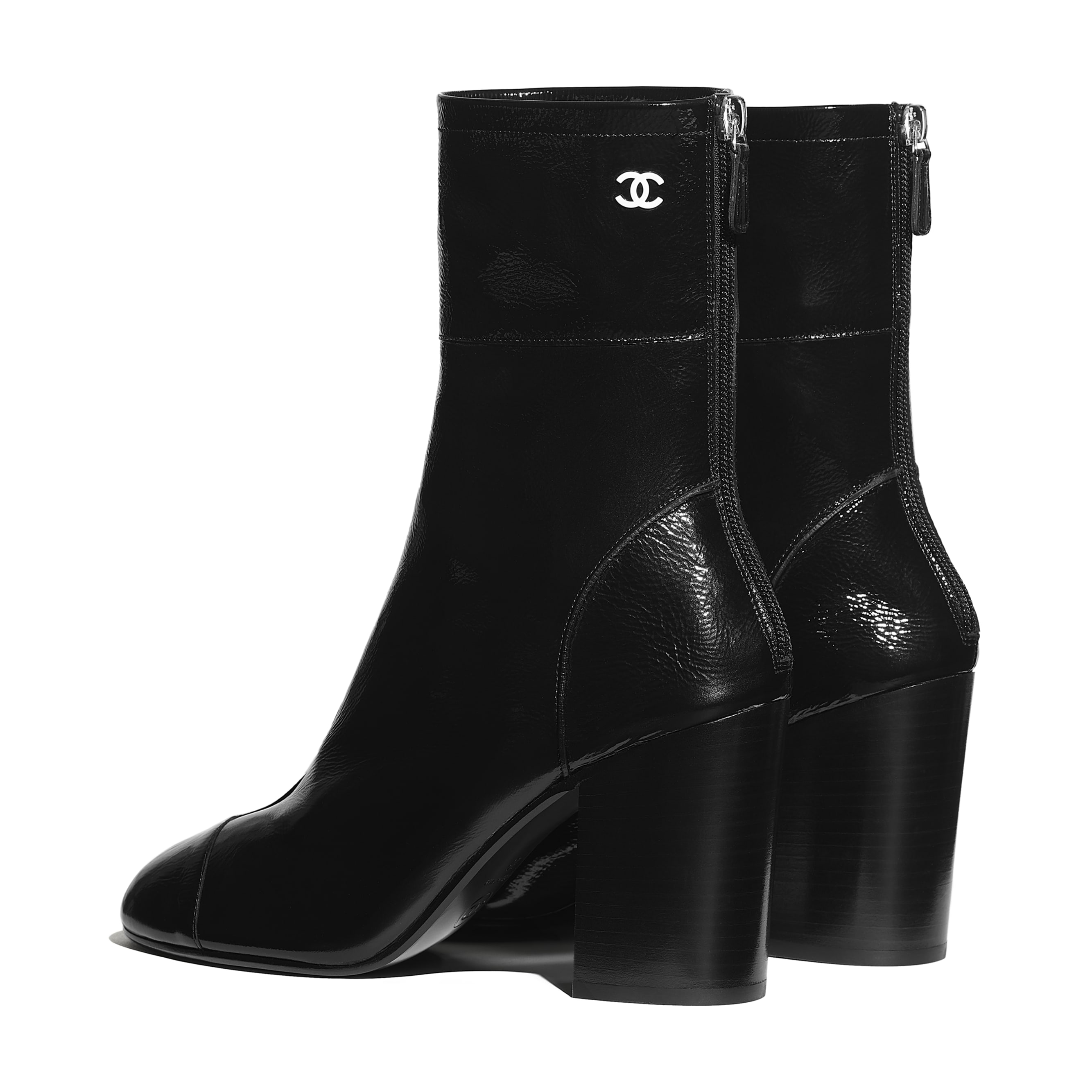 Ankle Boots - Black - Shiny Crumpled Calfskin - CHANEL - Other view - see standard sized version