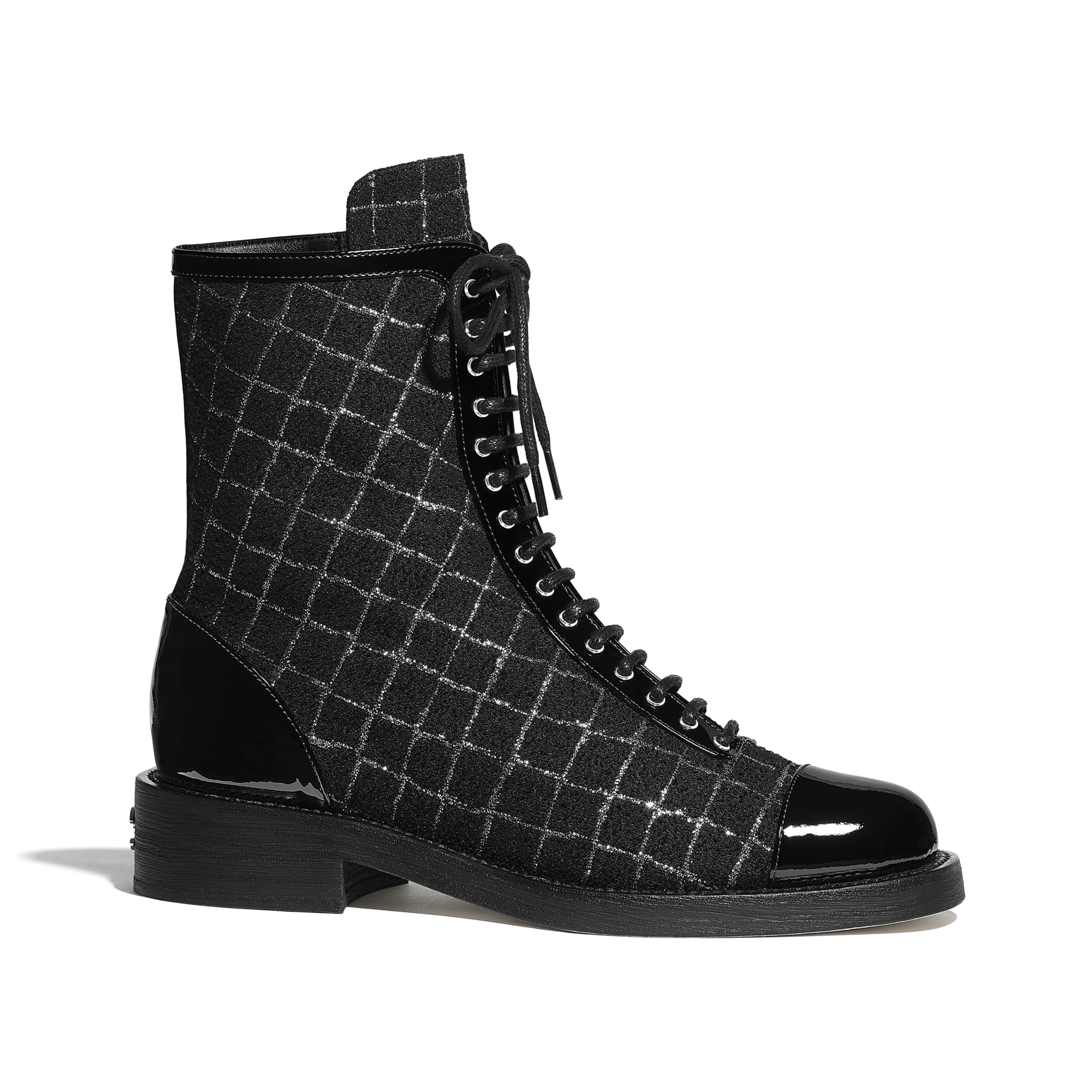Ankle Boots - Black & Silver - Tweed & Patent Calfskin - CHANEL - Default view - see standard sized version