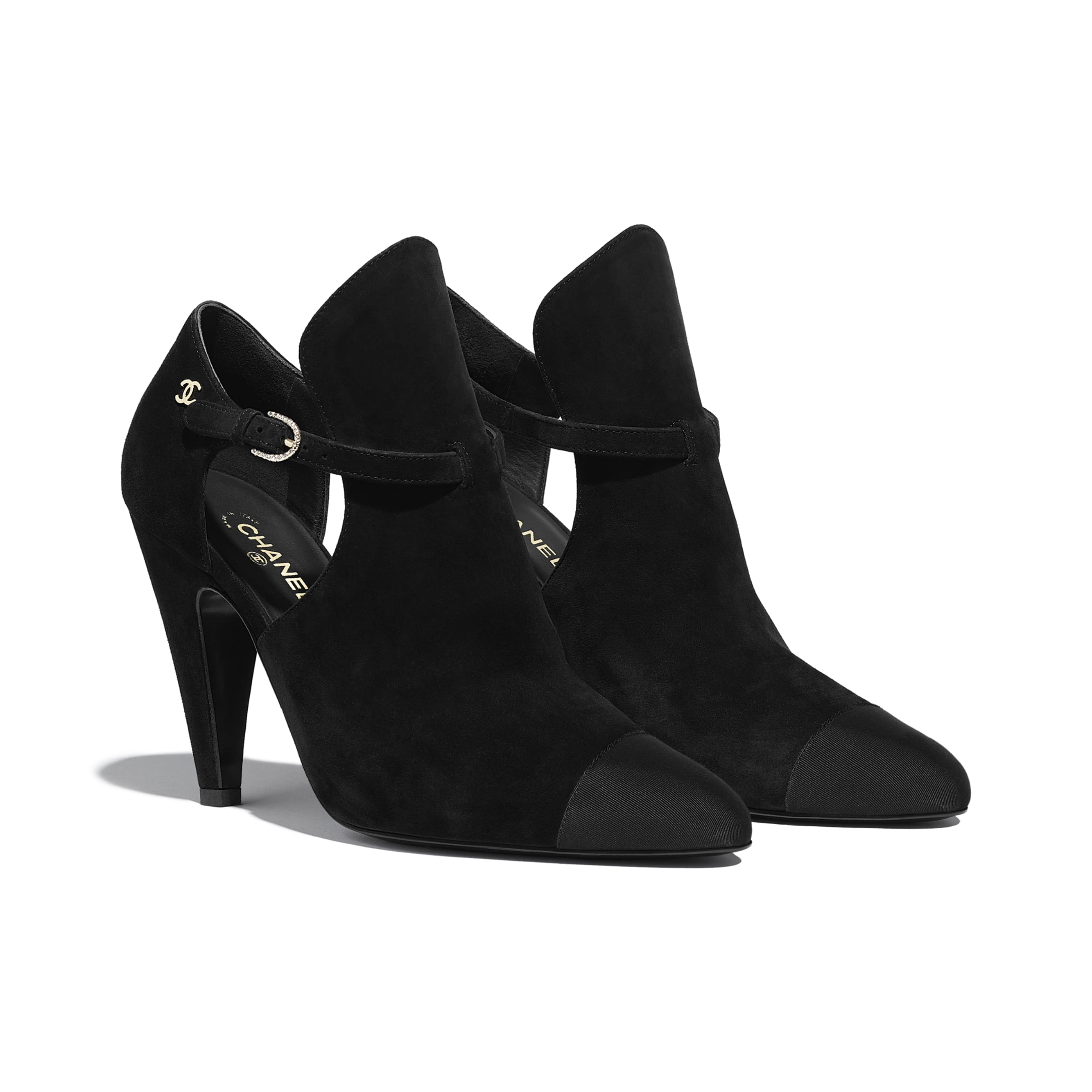 Ankle Boots - Black - Suede Calfskin & Grosgrain - CHANEL - Alternative view - see standard sized version