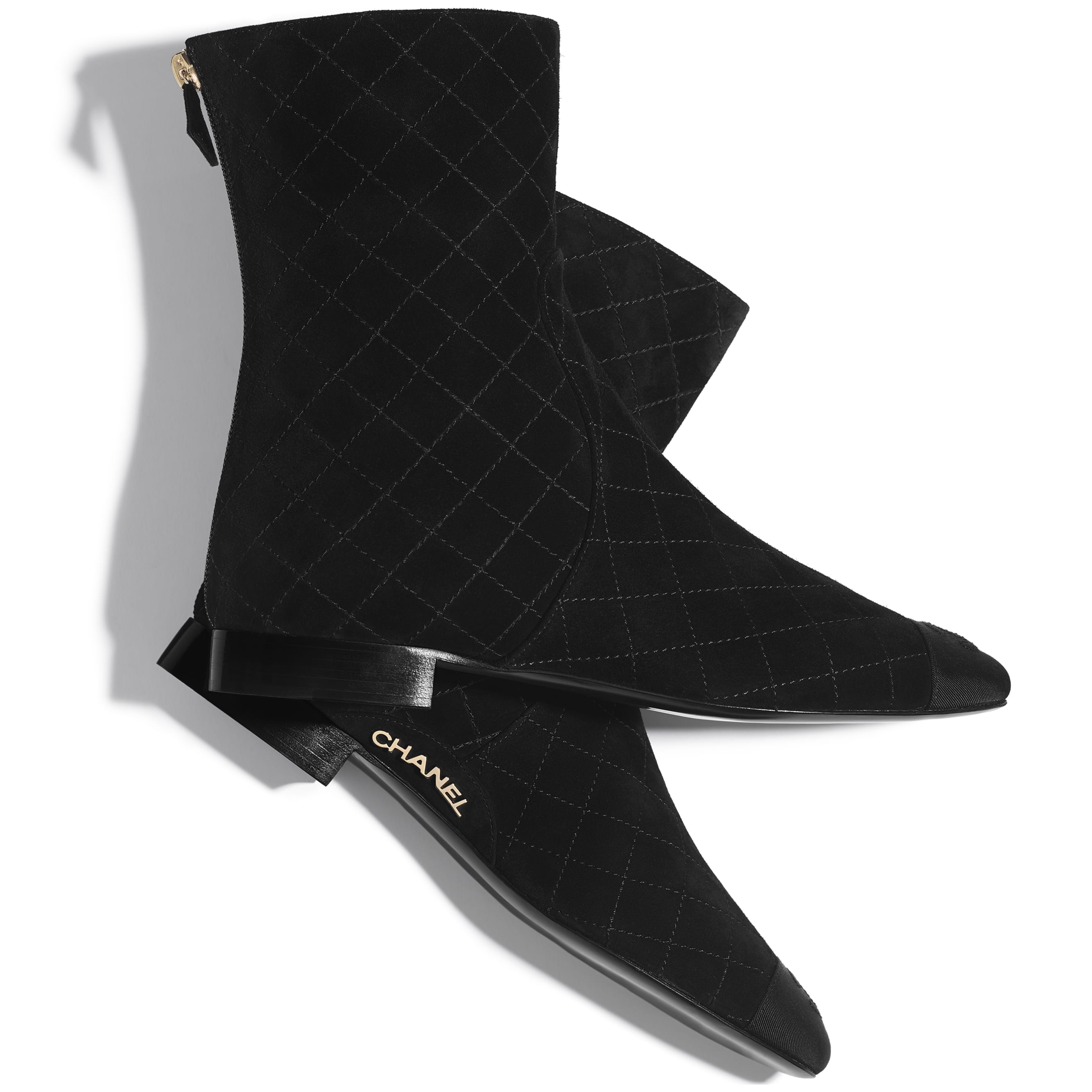 Ankle Boots - Black - Suede Calfskin & Grosgrain - CHANEL - Extra view - see standard sized version