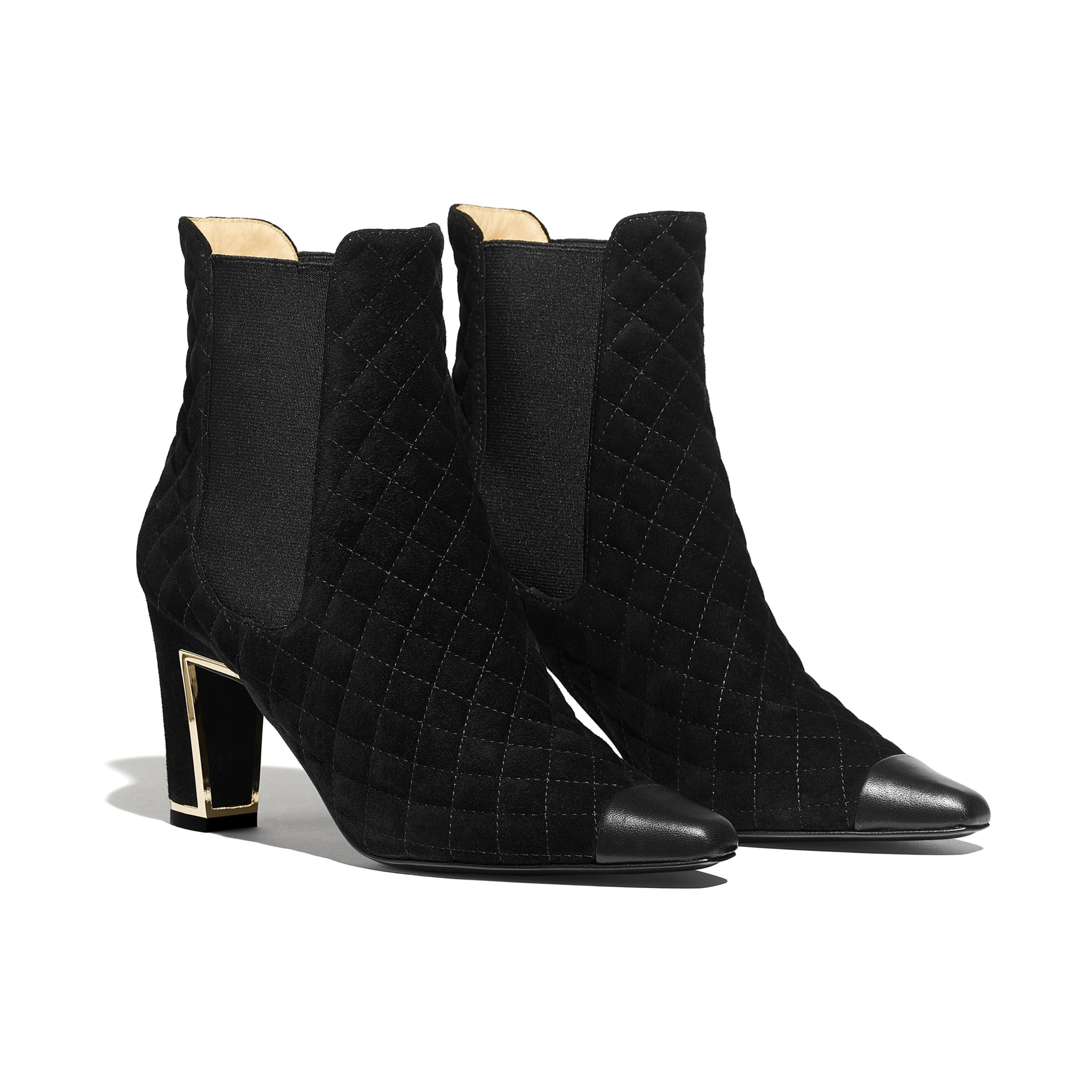 Ankle Boots - Black - Suede Calfskin & Lambskin - Alternative view - see standard sized version