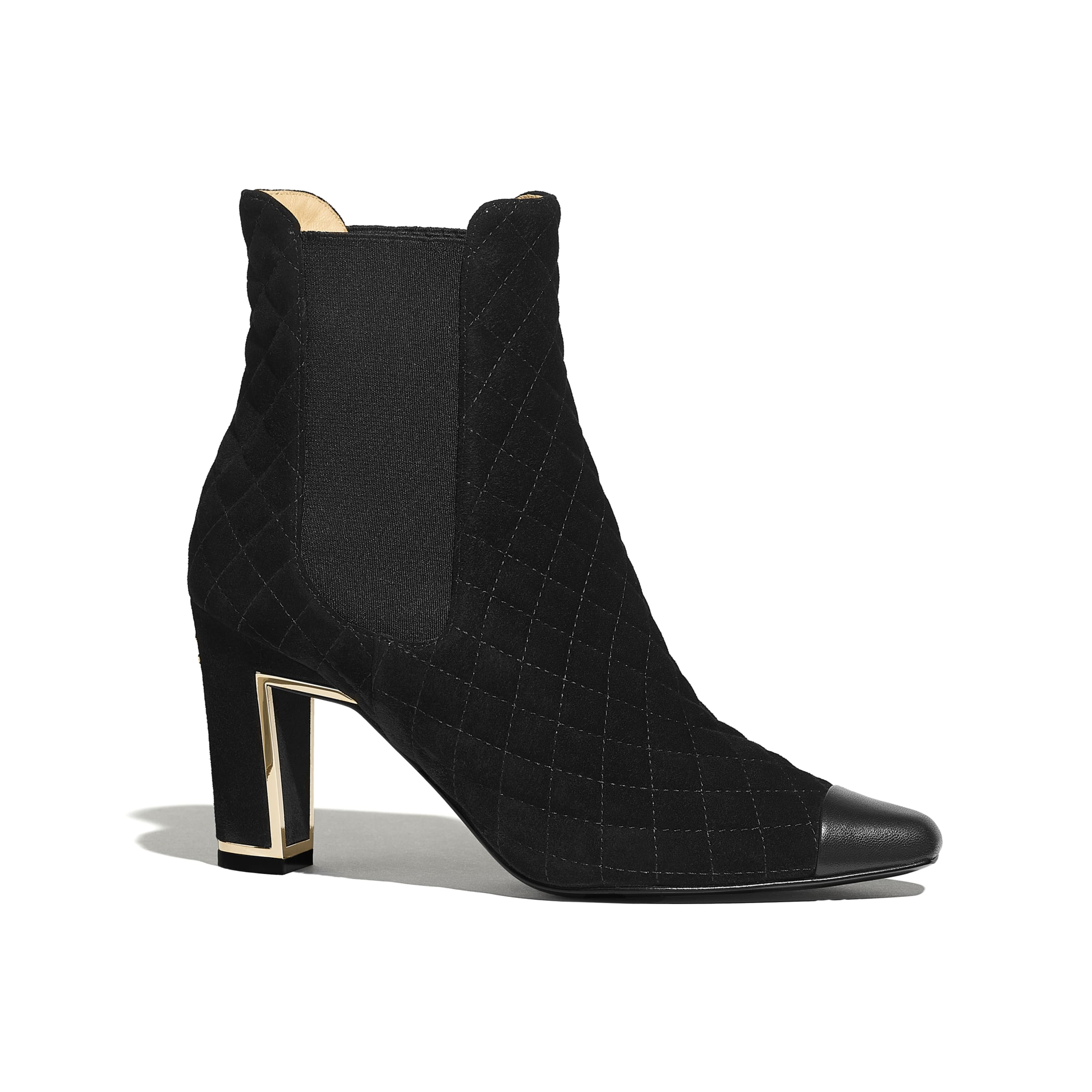 Ankle Boots - Black - Suede Calfskin & Lambskin - Default view - see standard sized version