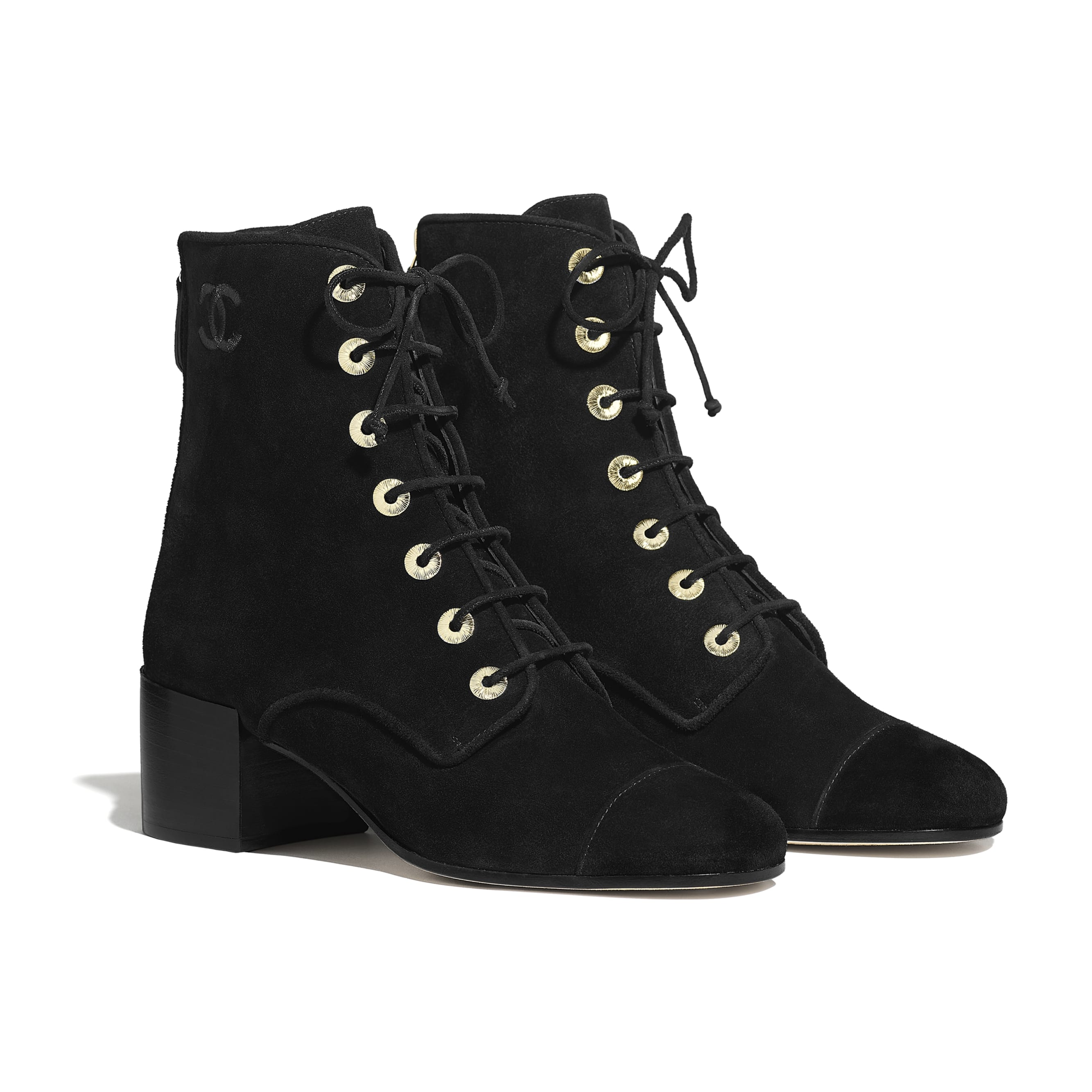 Ankle Boots - Black - Suede Calfskin - Alternative view - see standard sized version
