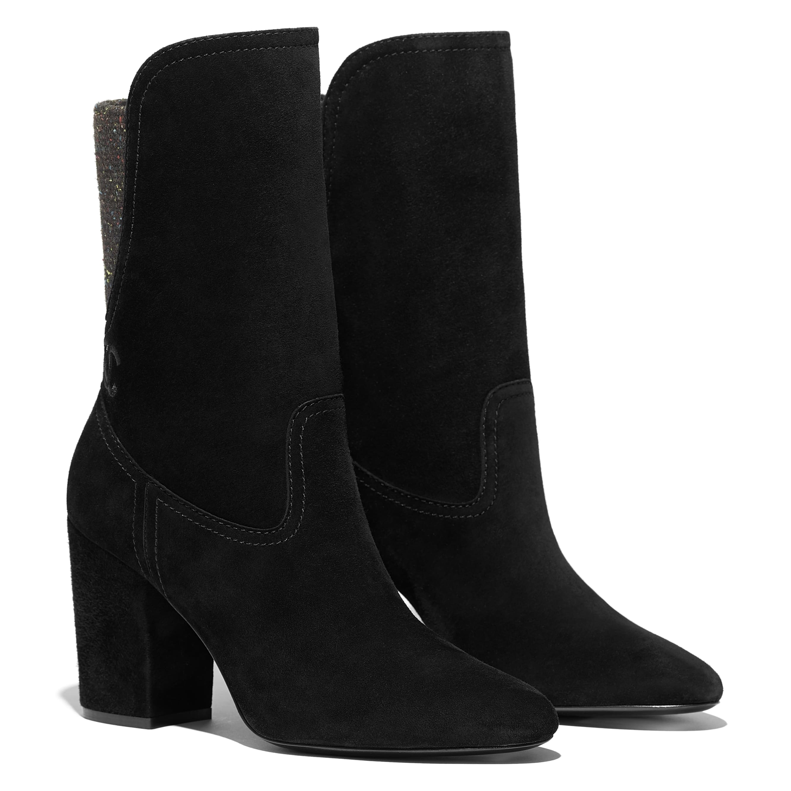 Ankle Boots - Black -  Velvet Calfskin & Mixed Fibers - Alternative view - see standard sized version