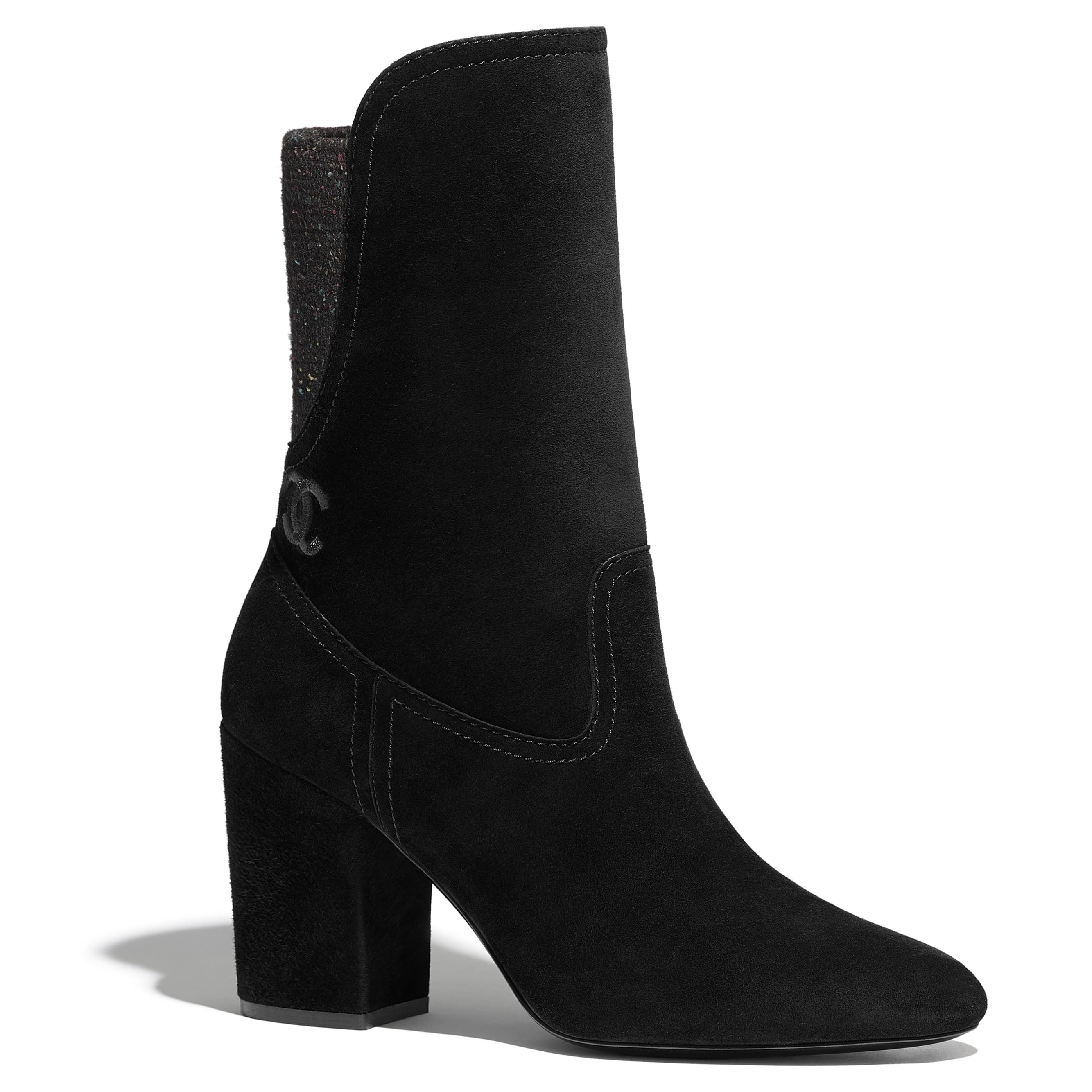 Ankle Boots - Black -  Velvet Calfskin & Mixed Fibers - Default view - see standard sized version