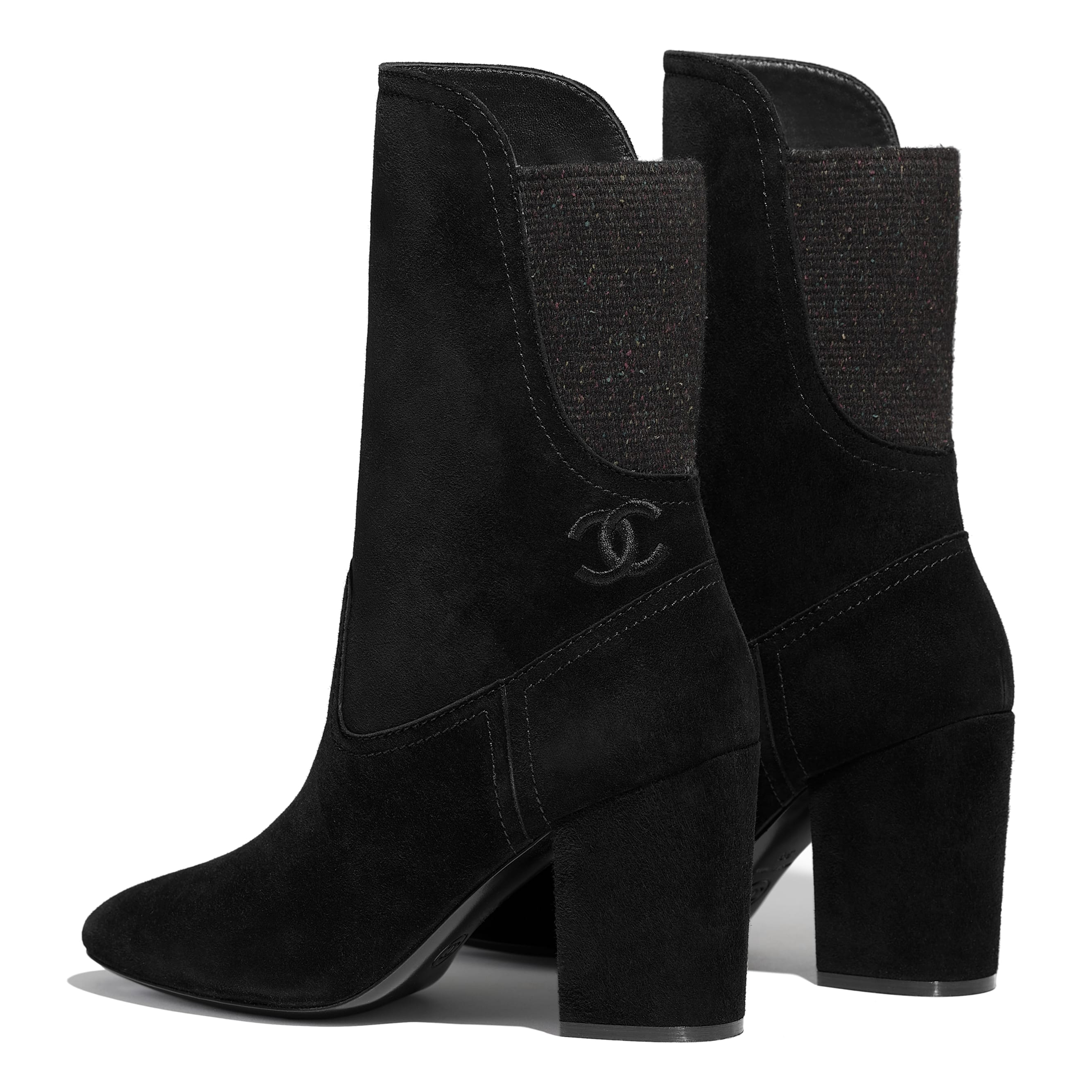 Ankle Boots - Black -  Velvet Calfskin & Mixed Fibers - Other view - see standard sized version