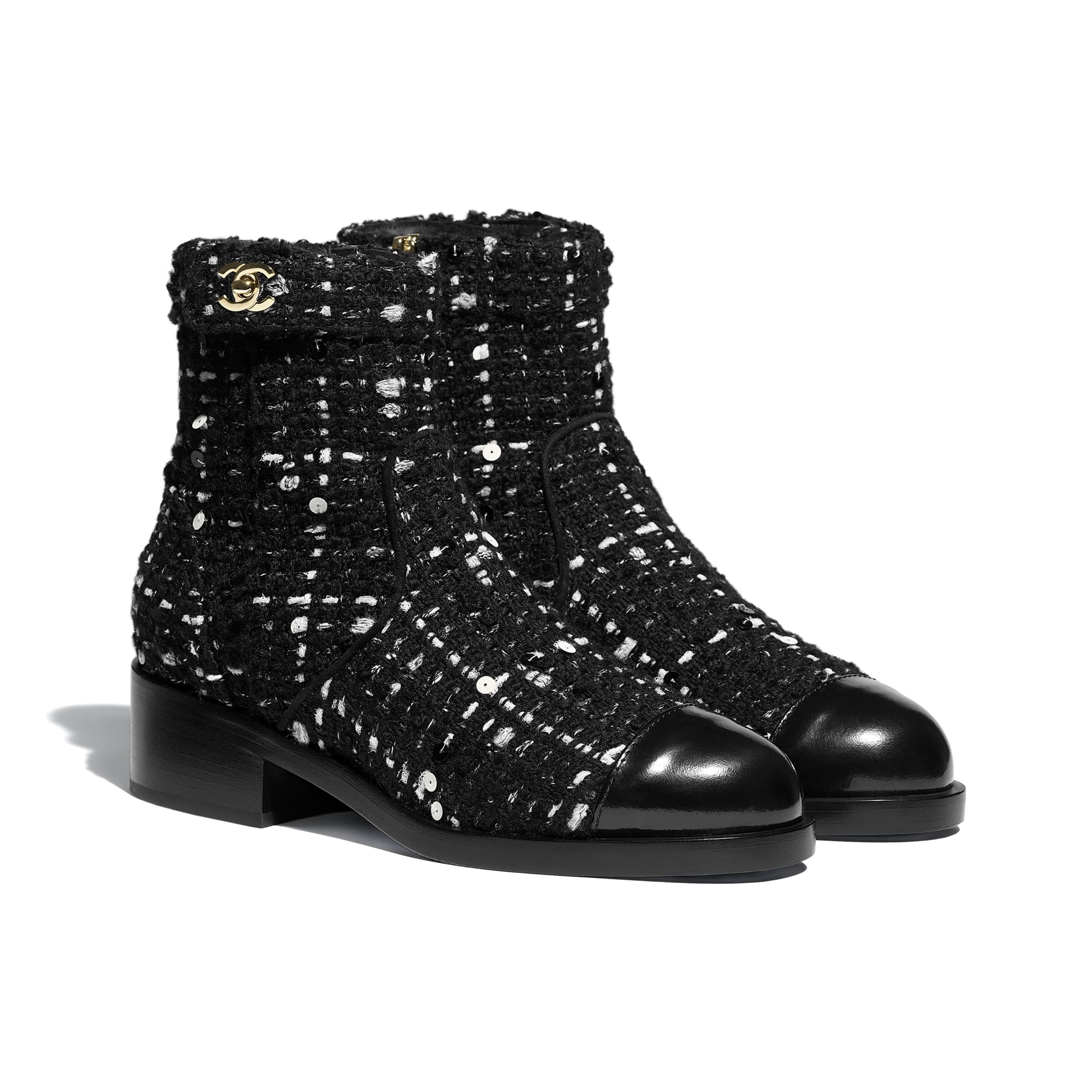 Ankle Boots - Black & White - Tweed & Calfskin - CHANEL - Alternative view - see standard sized version
