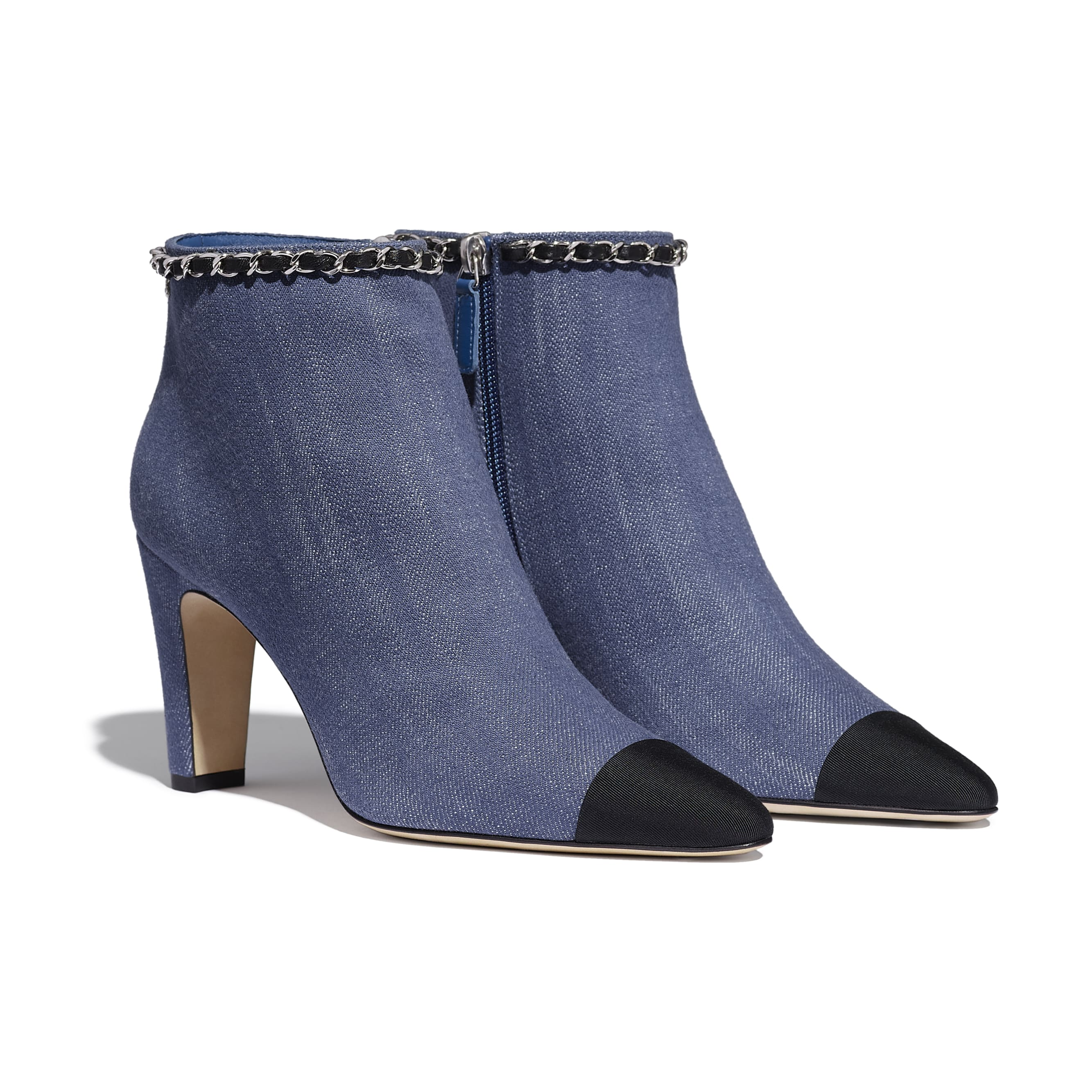 Ankle Boots - Blue & Black - Fabric - Alternative view - see standard sized version