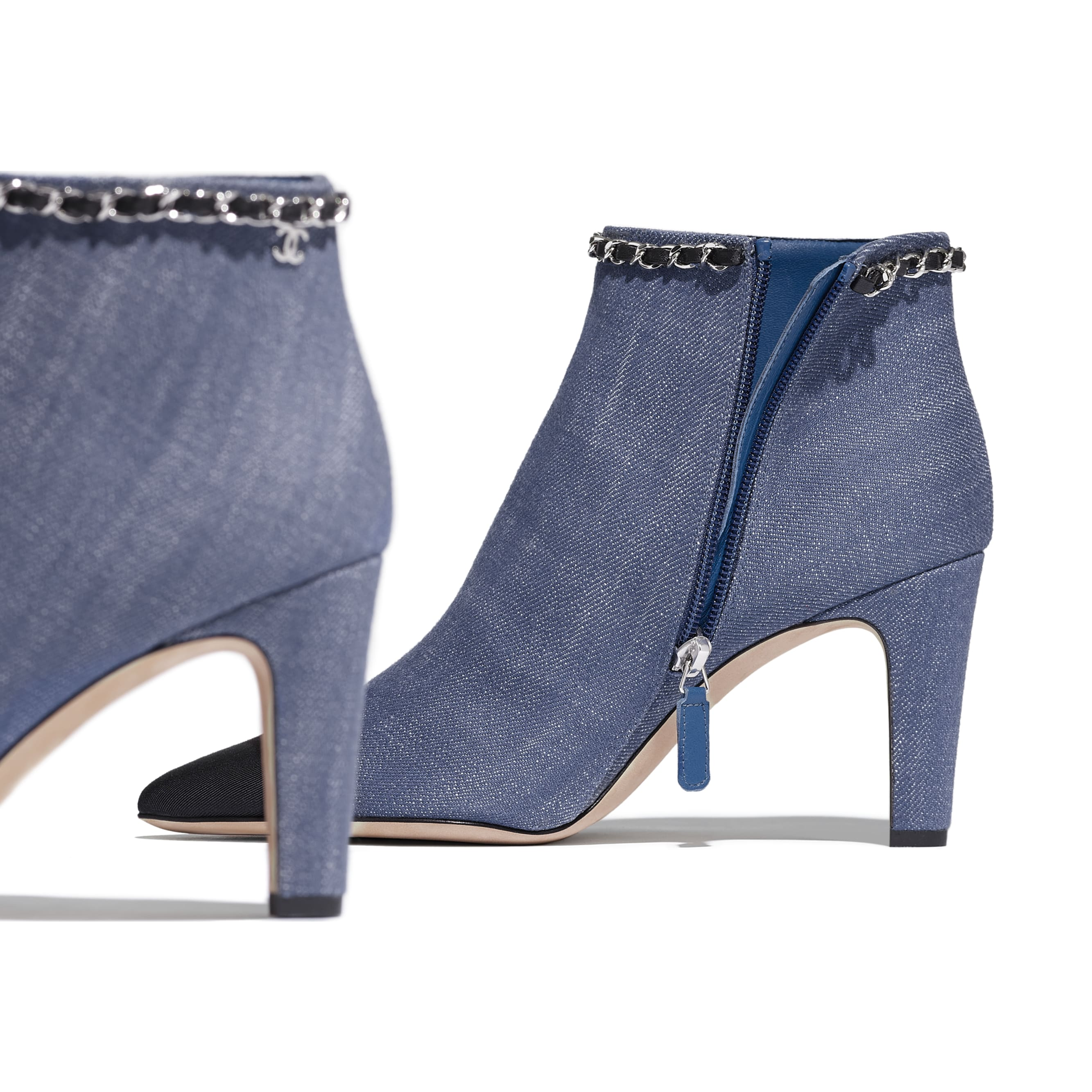 Ankle Boots - Blue & Black - Fabric - Extra view - see standard sized version
