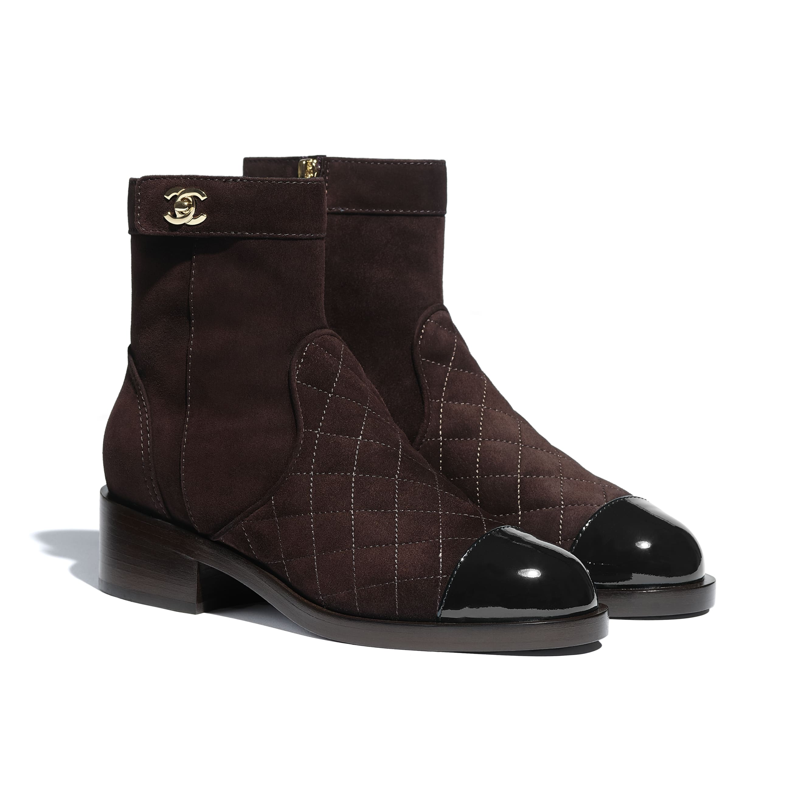 Ankle Boots - Brown & Black - Suede Calfskin & Patent Calfskin - CHANEL - Alternative view - see standard sized version