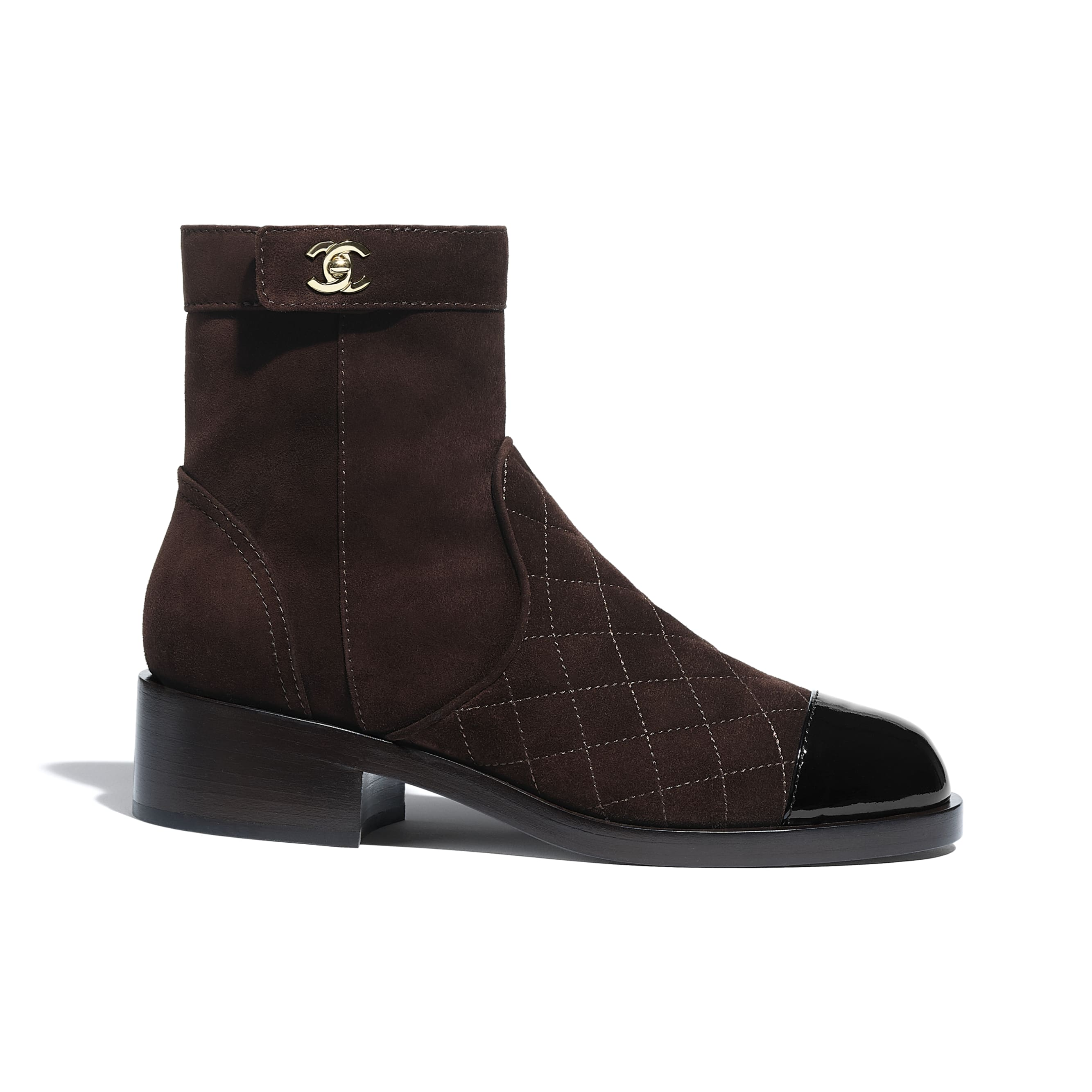 Ankle Boots - Brown & Black - Suede Calfskin & Patent Calfskin - CHANEL - Default view - see standard sized version