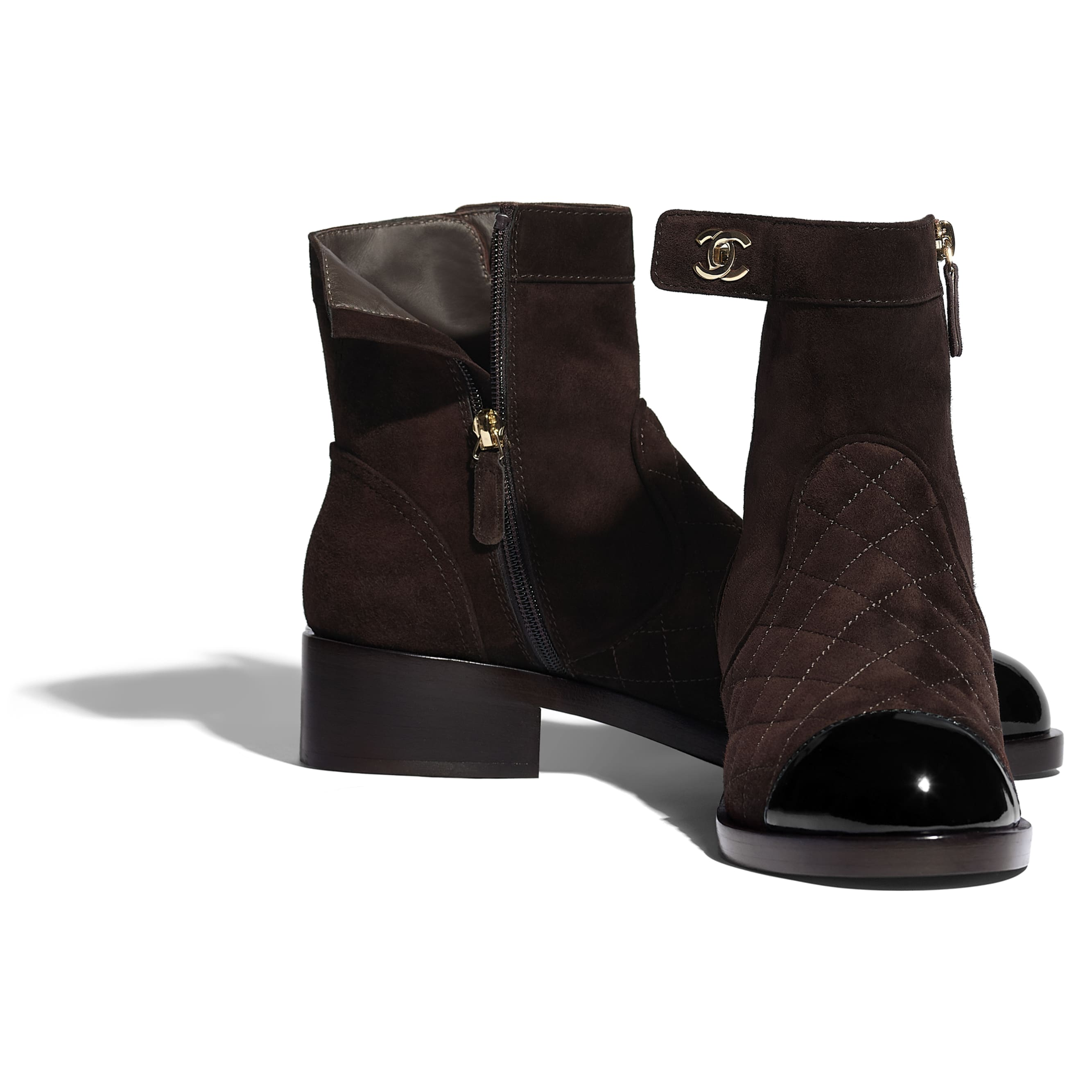 Ankle Boots - Brown & Black - Suede Calfskin & Patent Calfskin - CHANEL - Extra view - see standard sized version