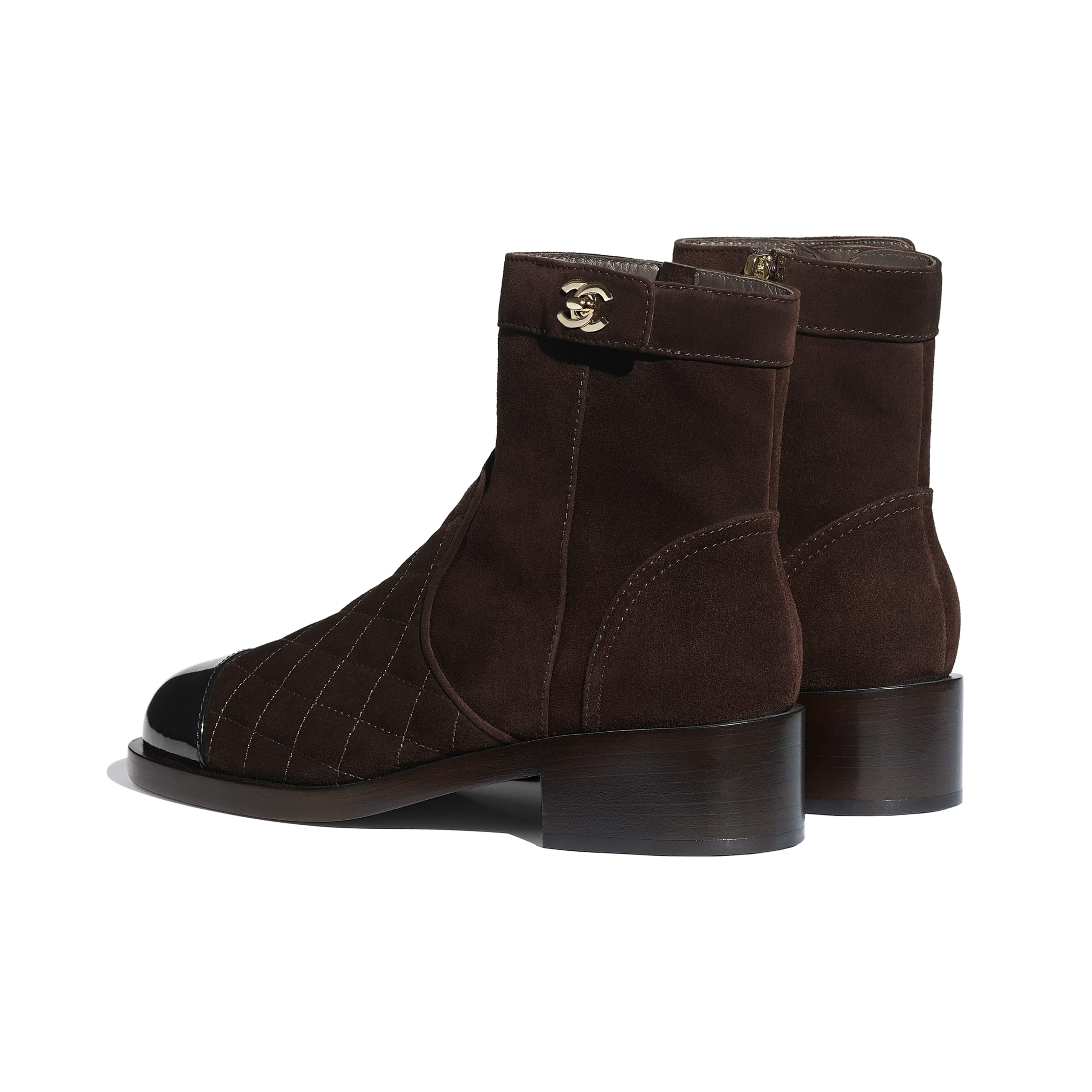Ankle Boots - Brown & Black - Suede Calfskin & Patent Calfskin - CHANEL - Other view - see standard sized version