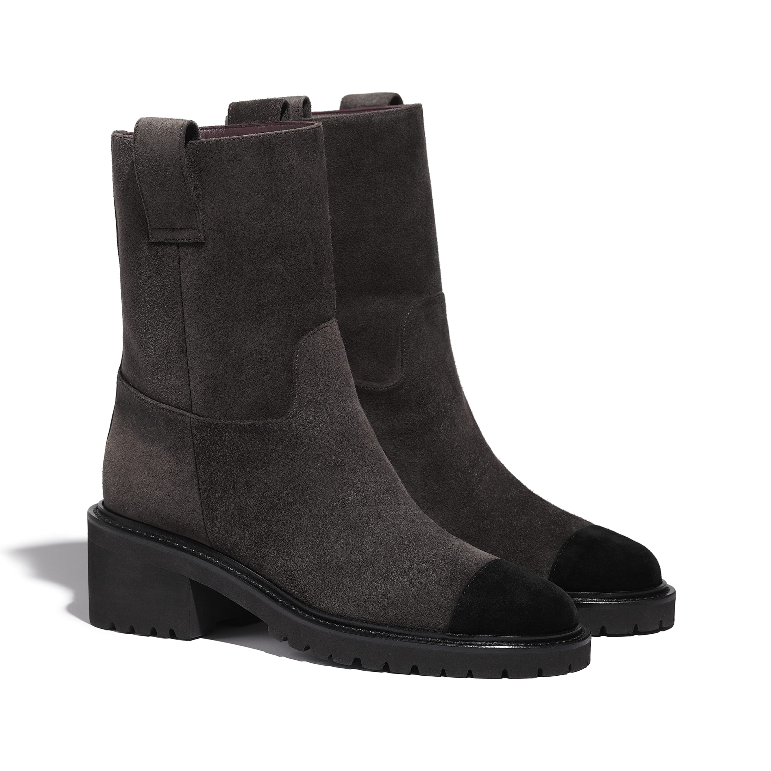 Ankle Boots - Brown & Black - Suede Calfskin - CHANEL - Alternative view - see standard sized version