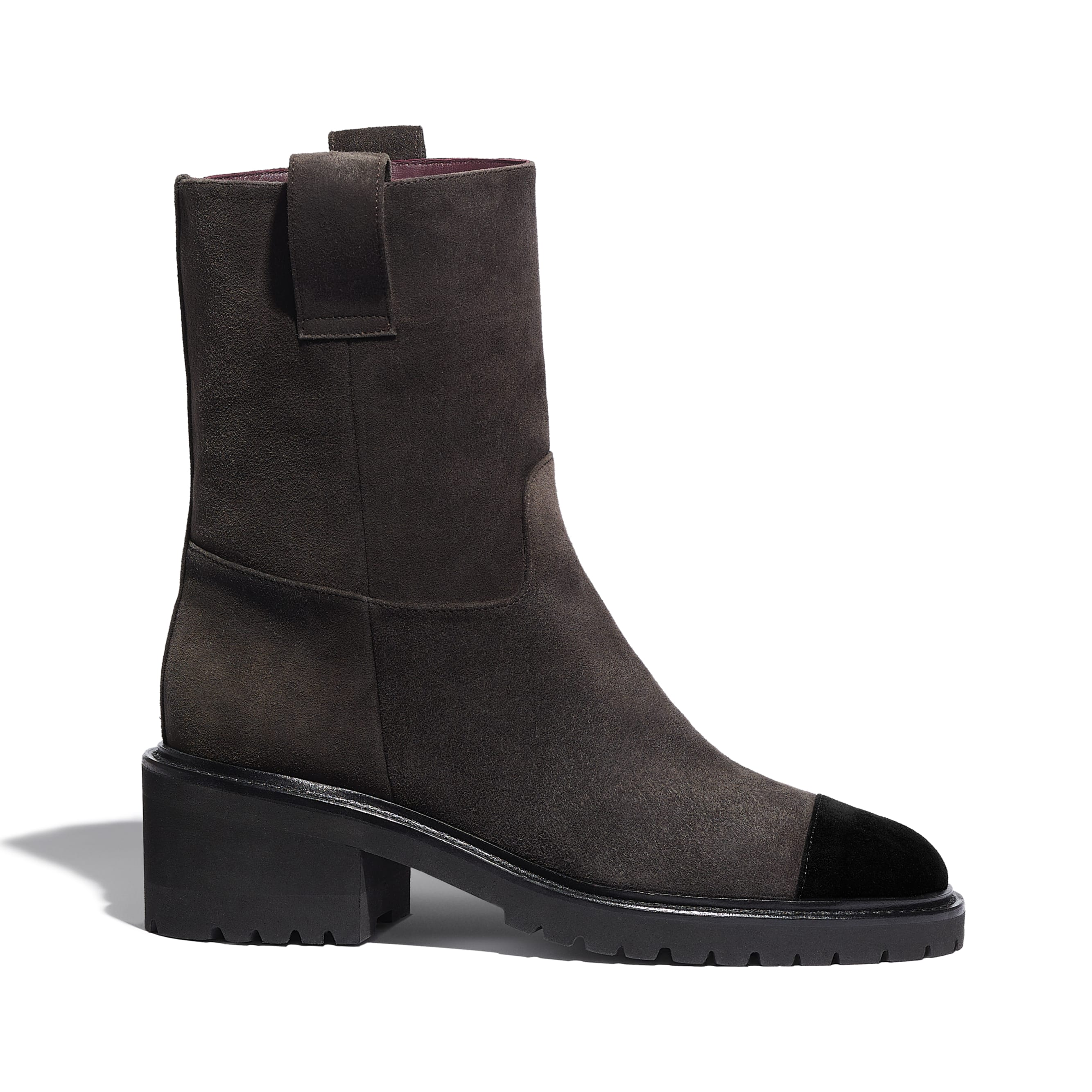 Ankle Boots - Brown & Black - Suede Calfskin - CHANEL - Default view - see standard sized version