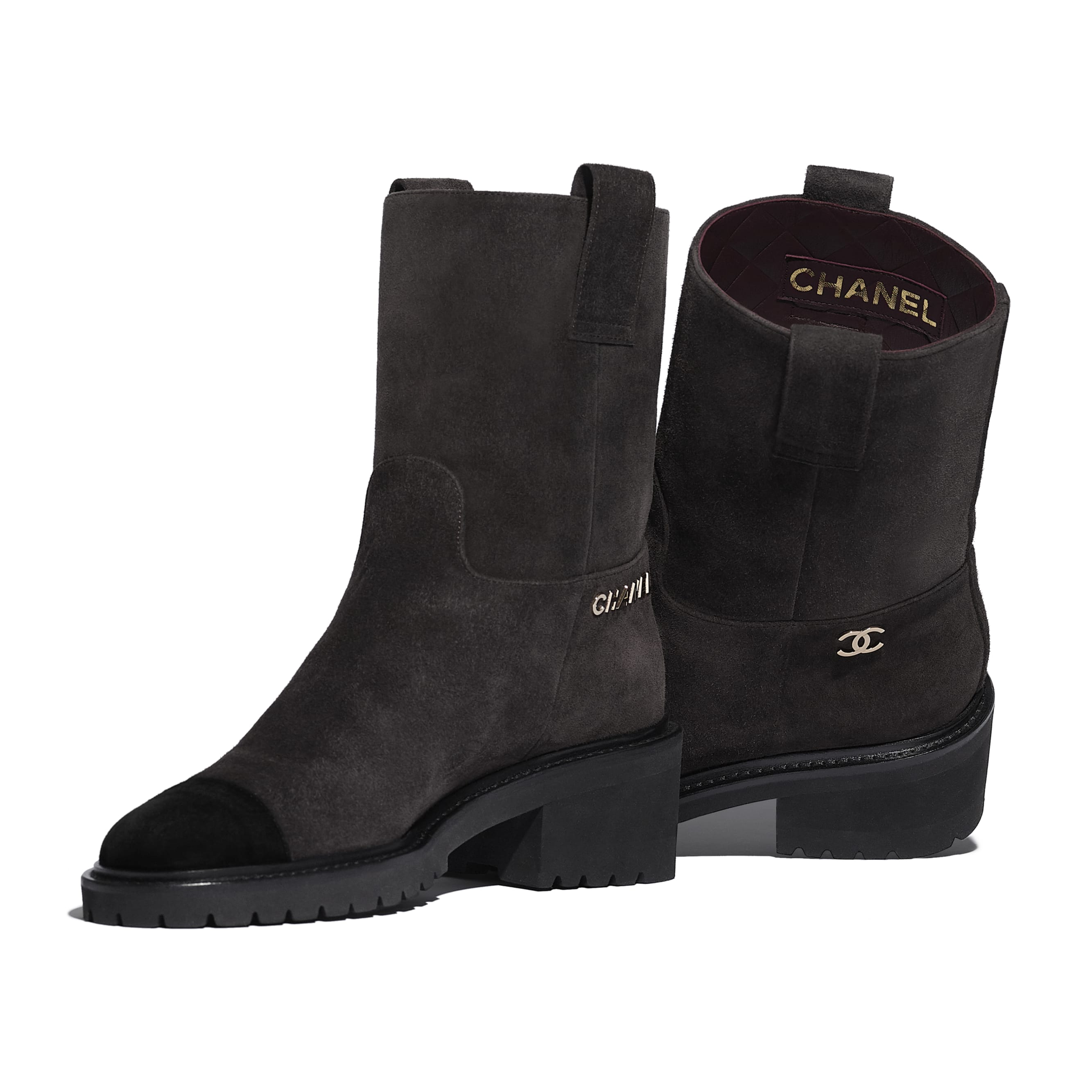 Ankle Boots - Brown & Black - Suede Calfskin - CHANEL - Extra view - see standard sized version