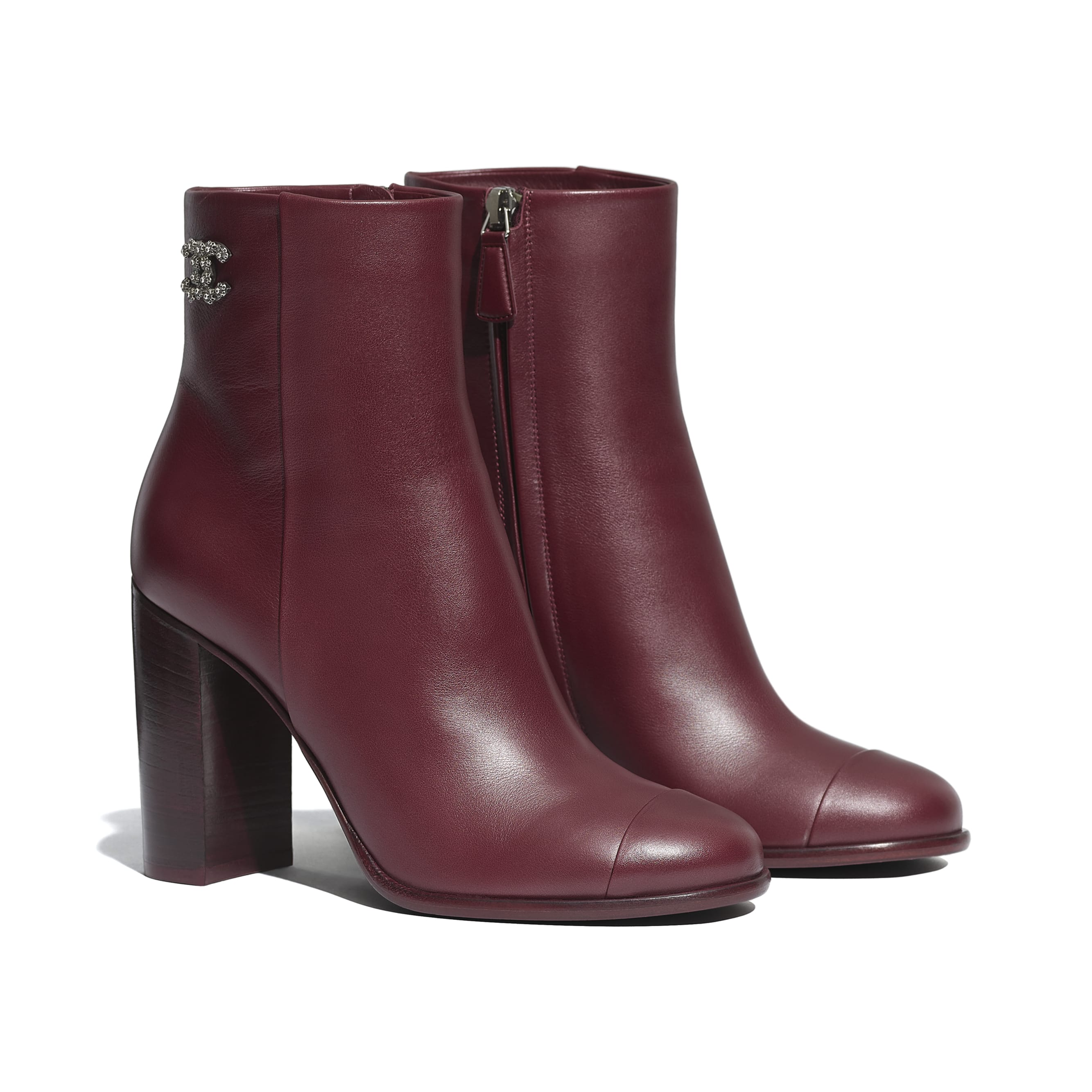 Ankle Boots - Burgundy - Calfskin - CHANEL - Alternative view - see standard sized version