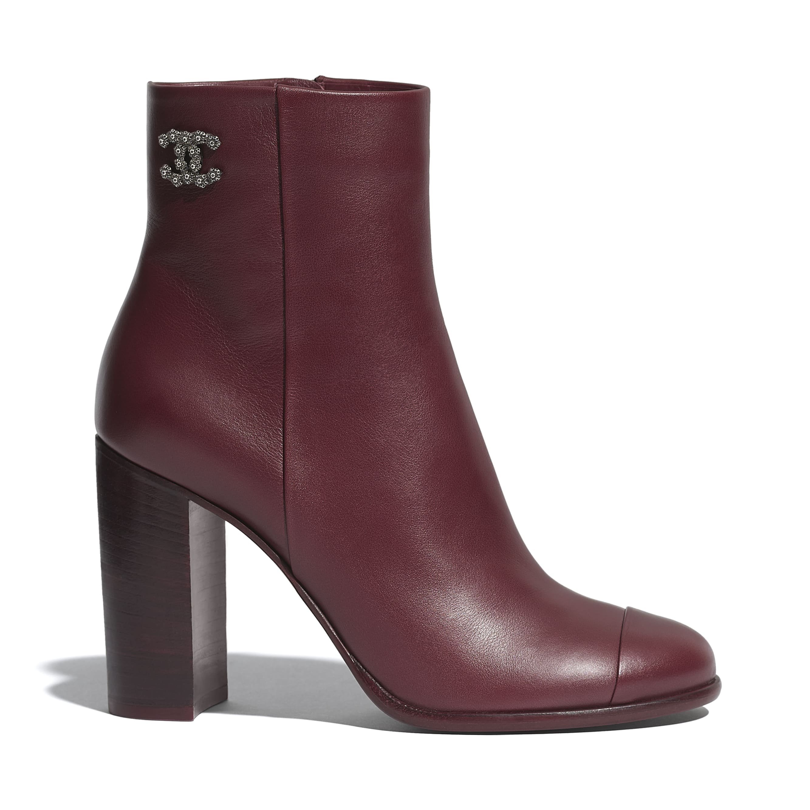 Ankle Boots - Burgundy - Calfskin - CHANEL - Default view - see standard sized version
