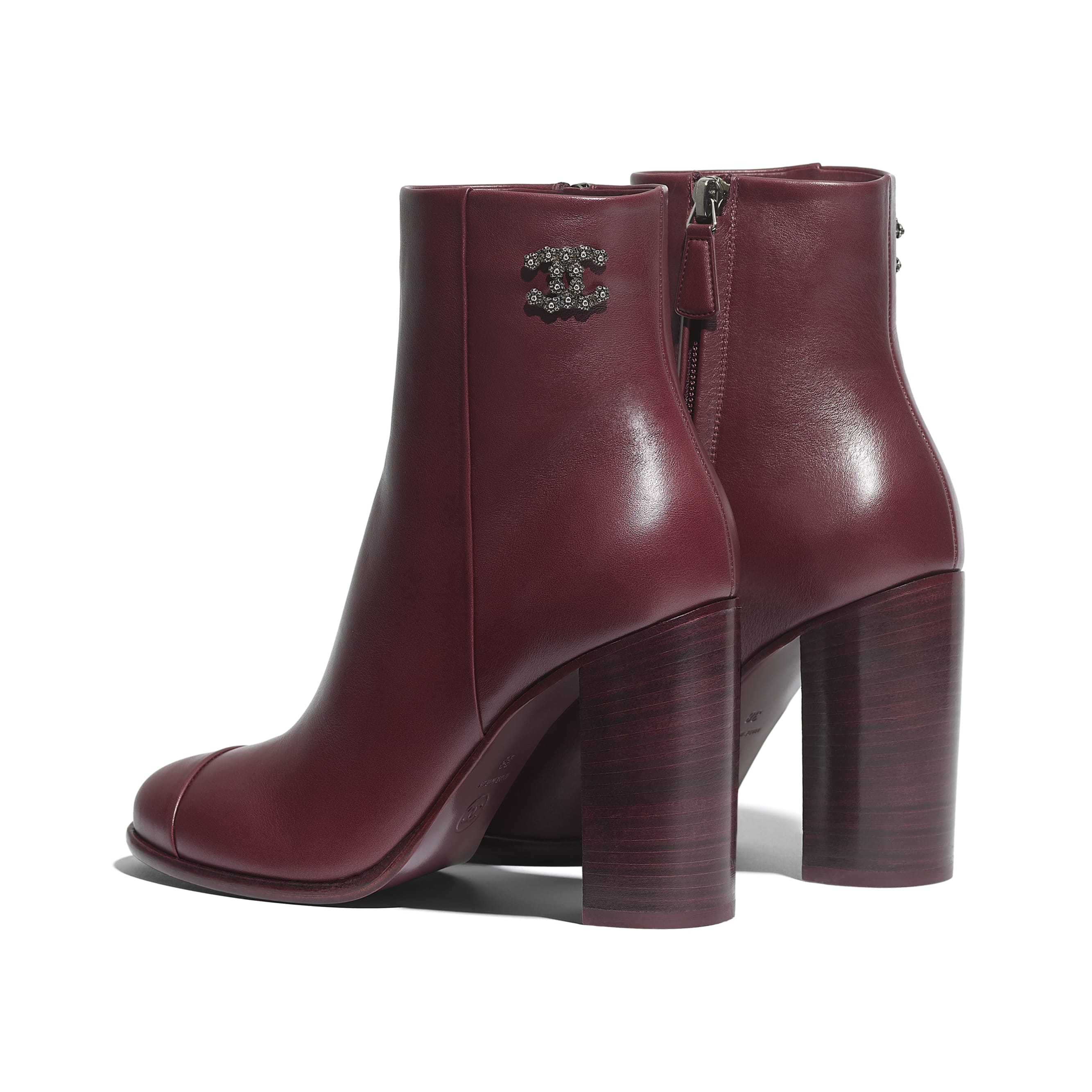 Ankle Boots - Burgundy - Calfskin - CHANEL - Other view - see standard sized version