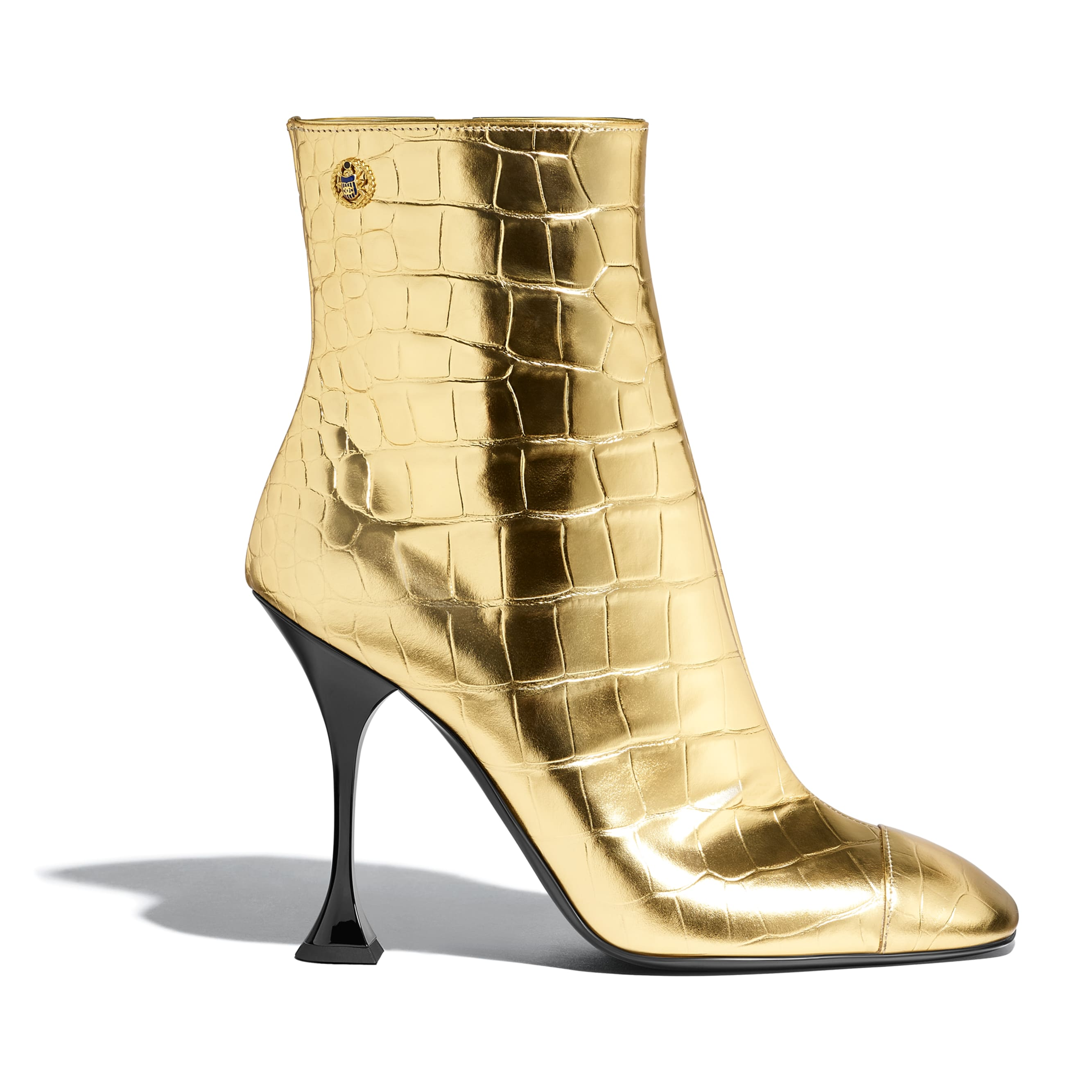 Ankle Boots - Gold - Crocodile Embossed Metallic Calfskin - Default view - see standard sized version