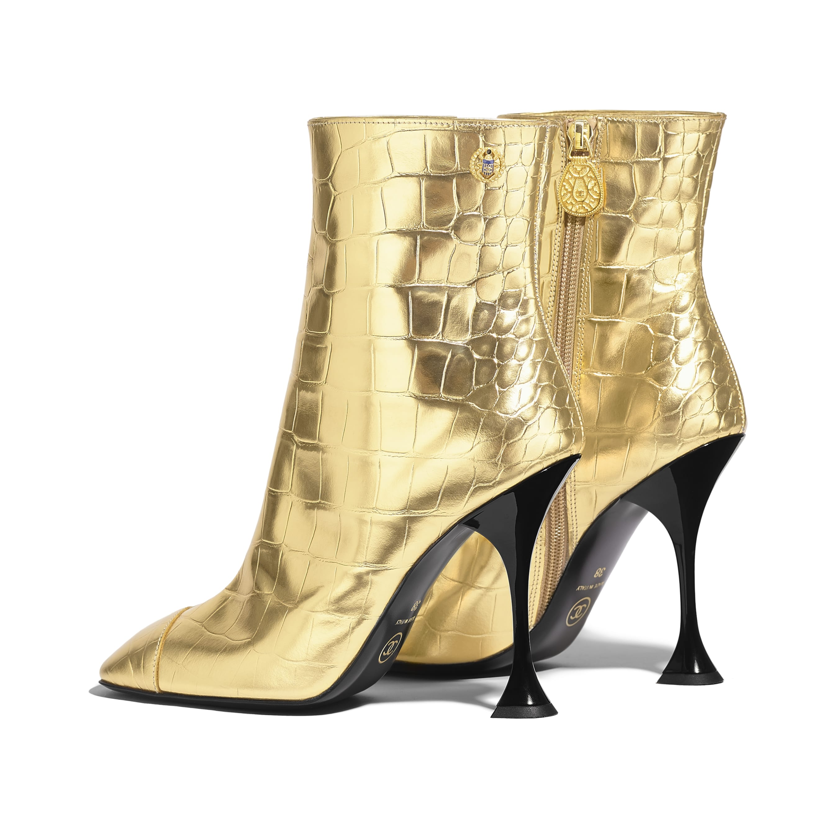 Ankle Boots - Gold - Crocodile Embossed Metallic Calfskin - Other view - see standard sized version