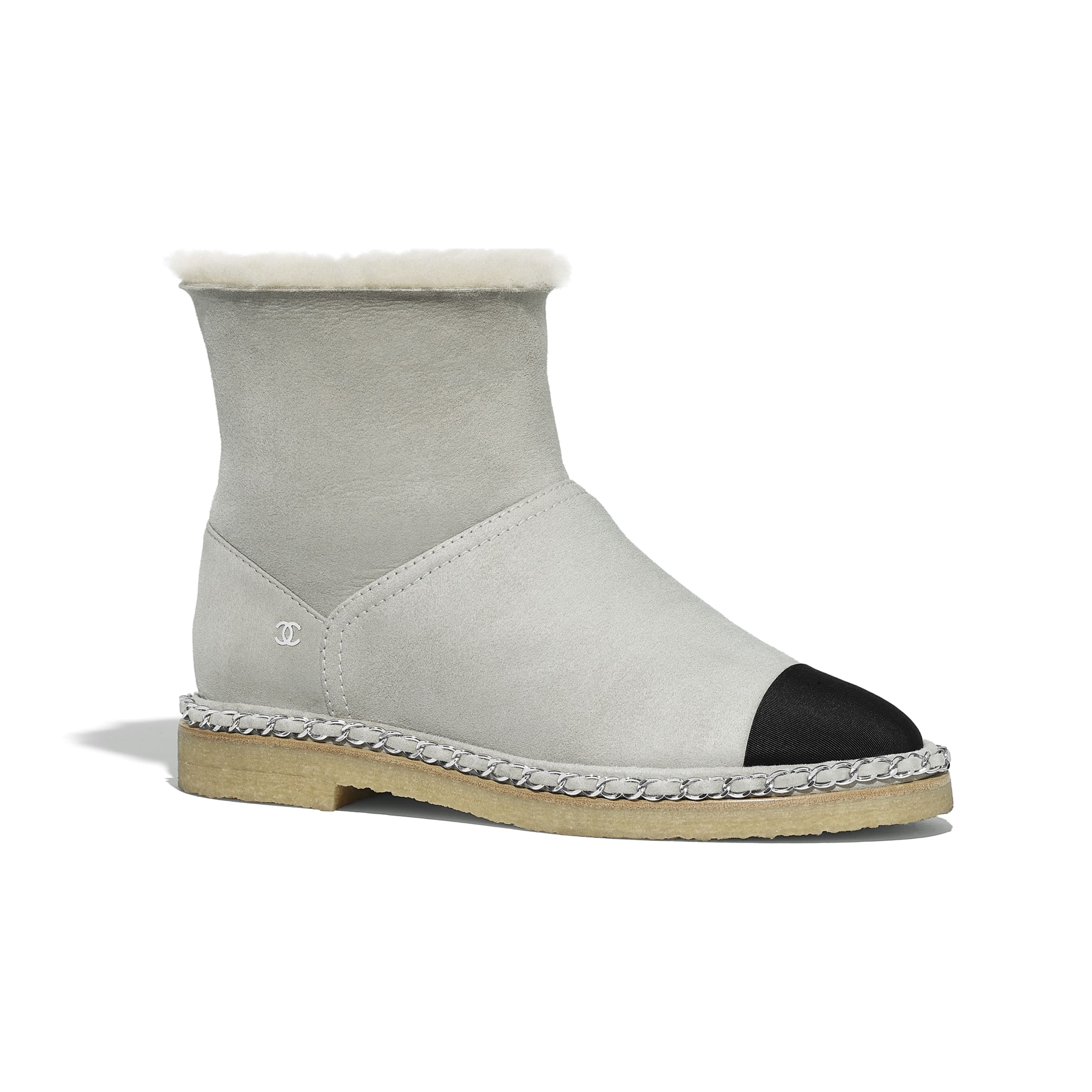 Ankle Boots - Gray & Black - Shearling Lambskin & Grosgrain - Default view - see standard sized version