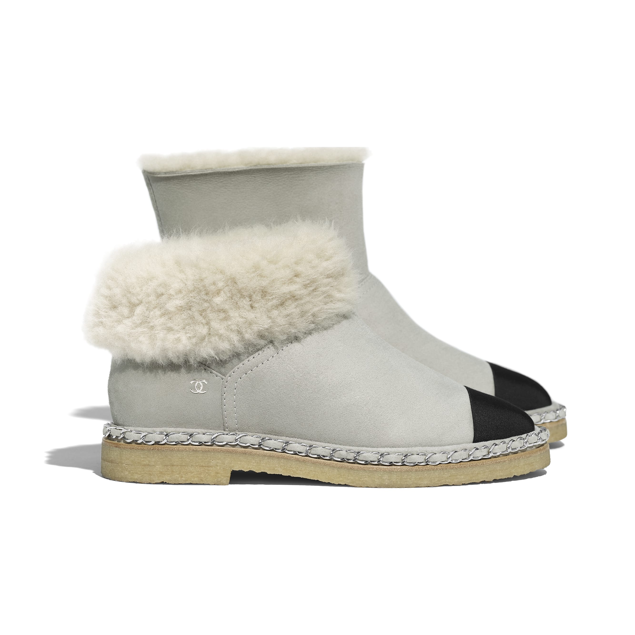 Ankle Boots - Gray & Black - Shearling Lambskin & Grosgrain - Extra view - see standard sized version